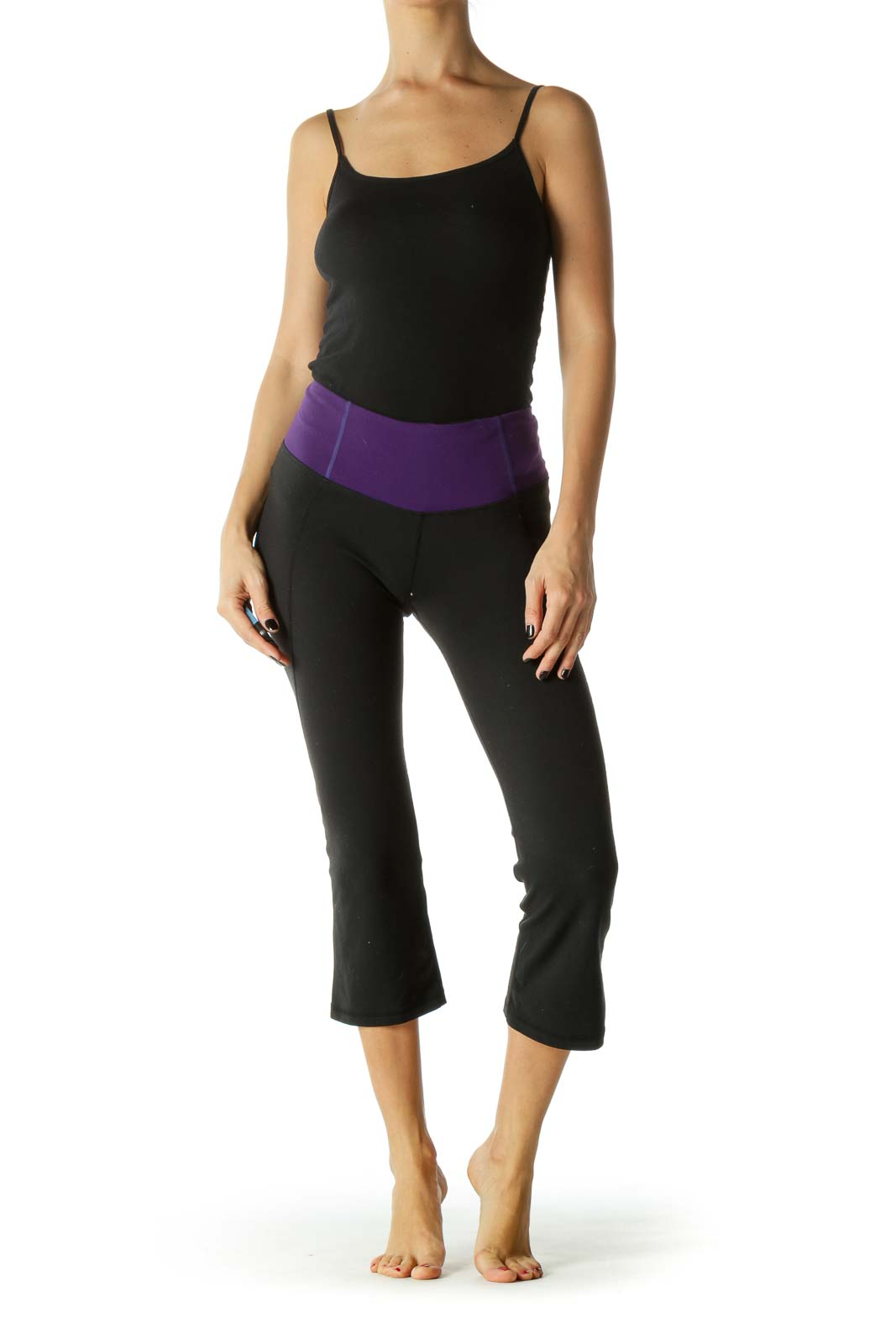 Black & Purple Elastic Band Slitted Yoga Pants