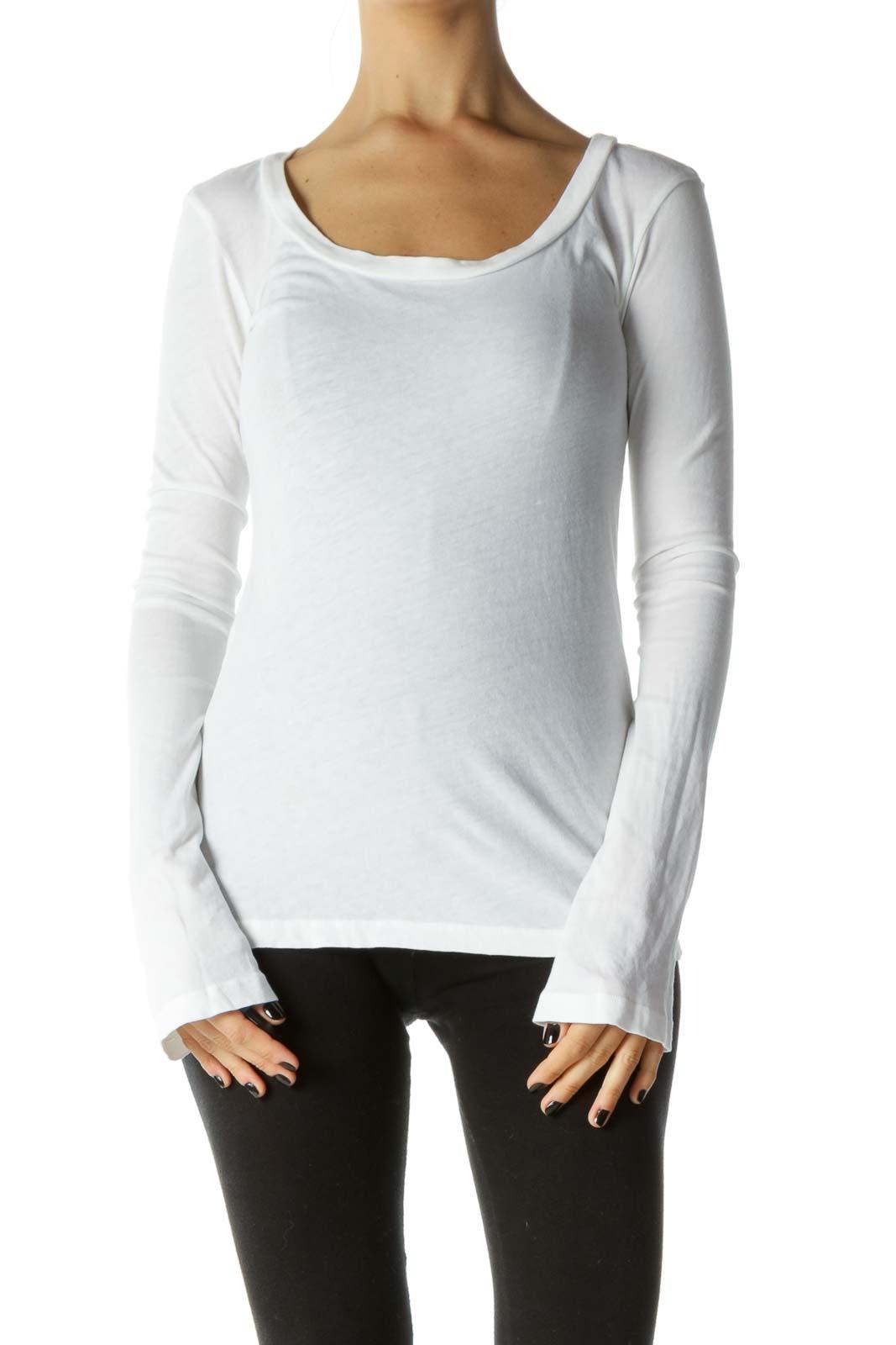 White Round Neck Long Sleeve T-Shirt