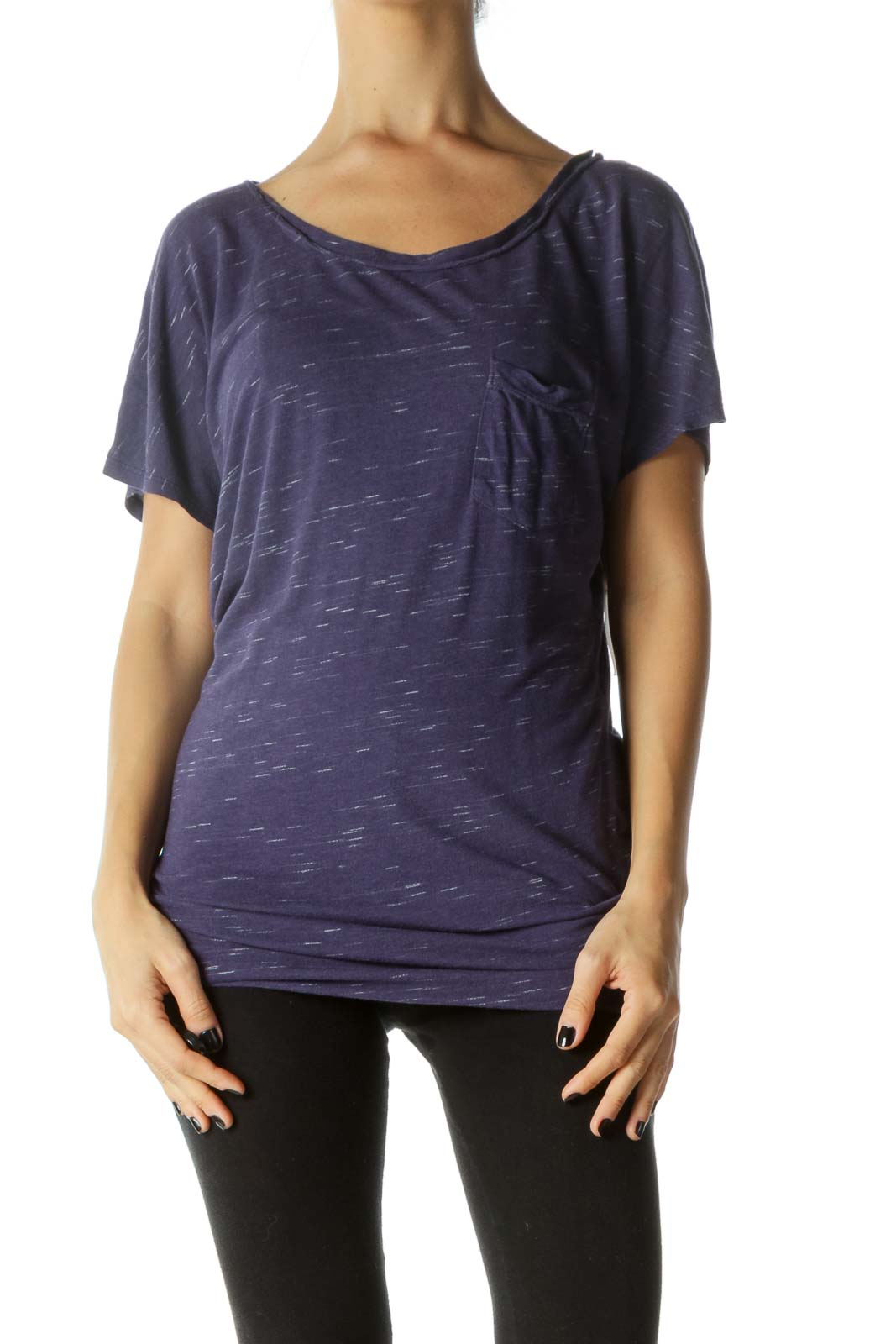Navy Round Neck Chest Pocketed T-shirt