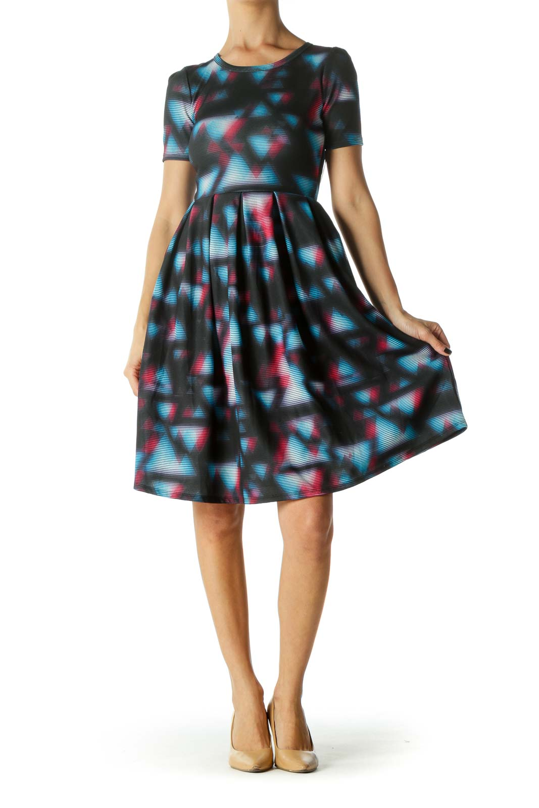 Black, Blue and Pink Geometric Print Round Neck, short Sleeve Day Dress