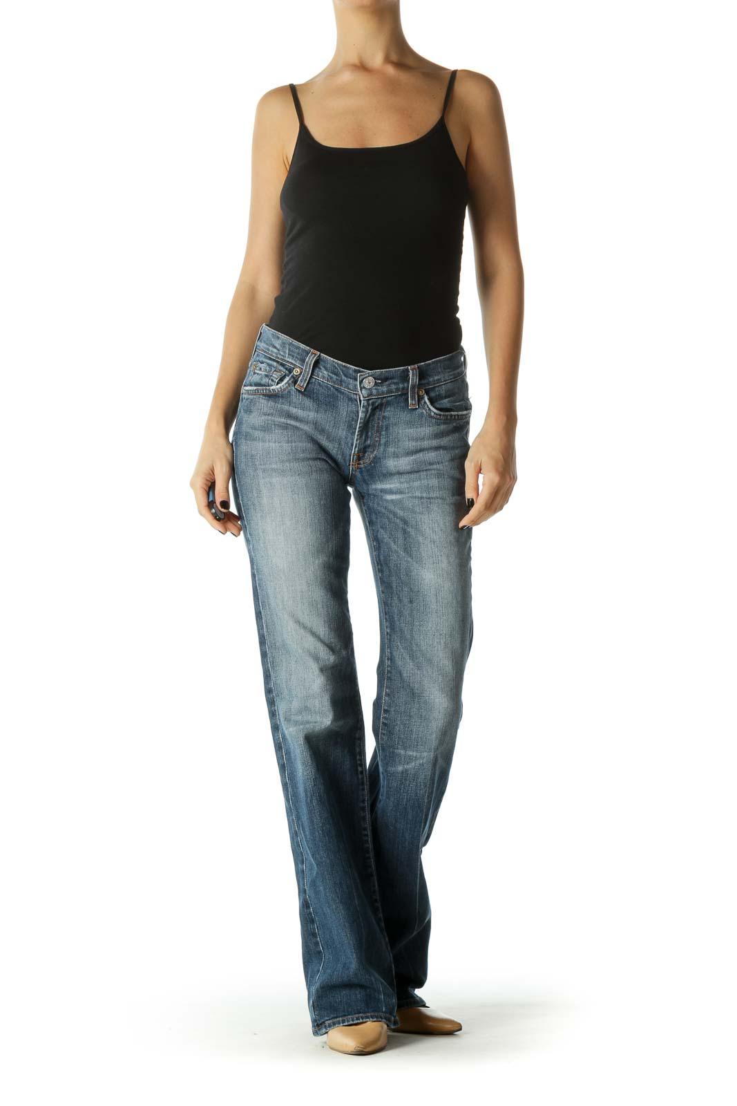 Blue Medium Wash Stone Wash Mid Rise Wide Leg Jean