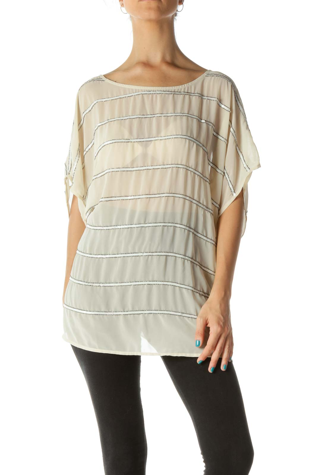 Beige Beaded and Sequined See Through Blouse
