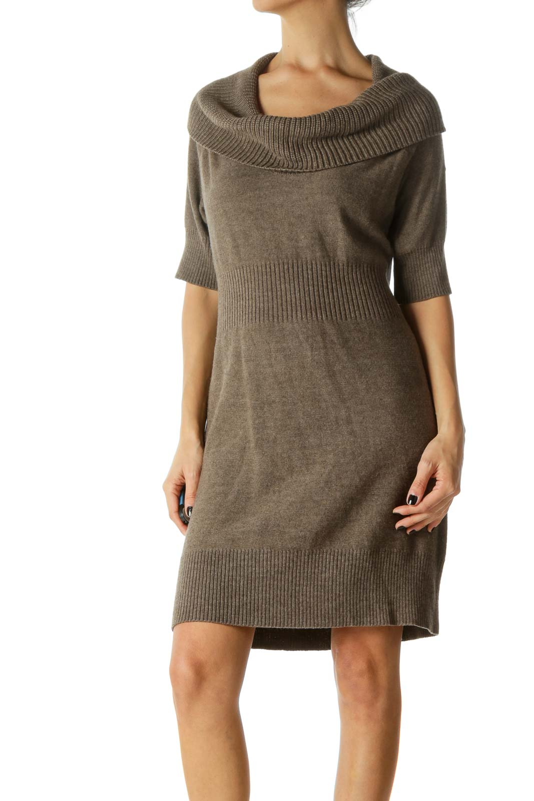 Brown Cowl Neck Clinched Waist Knit Dress