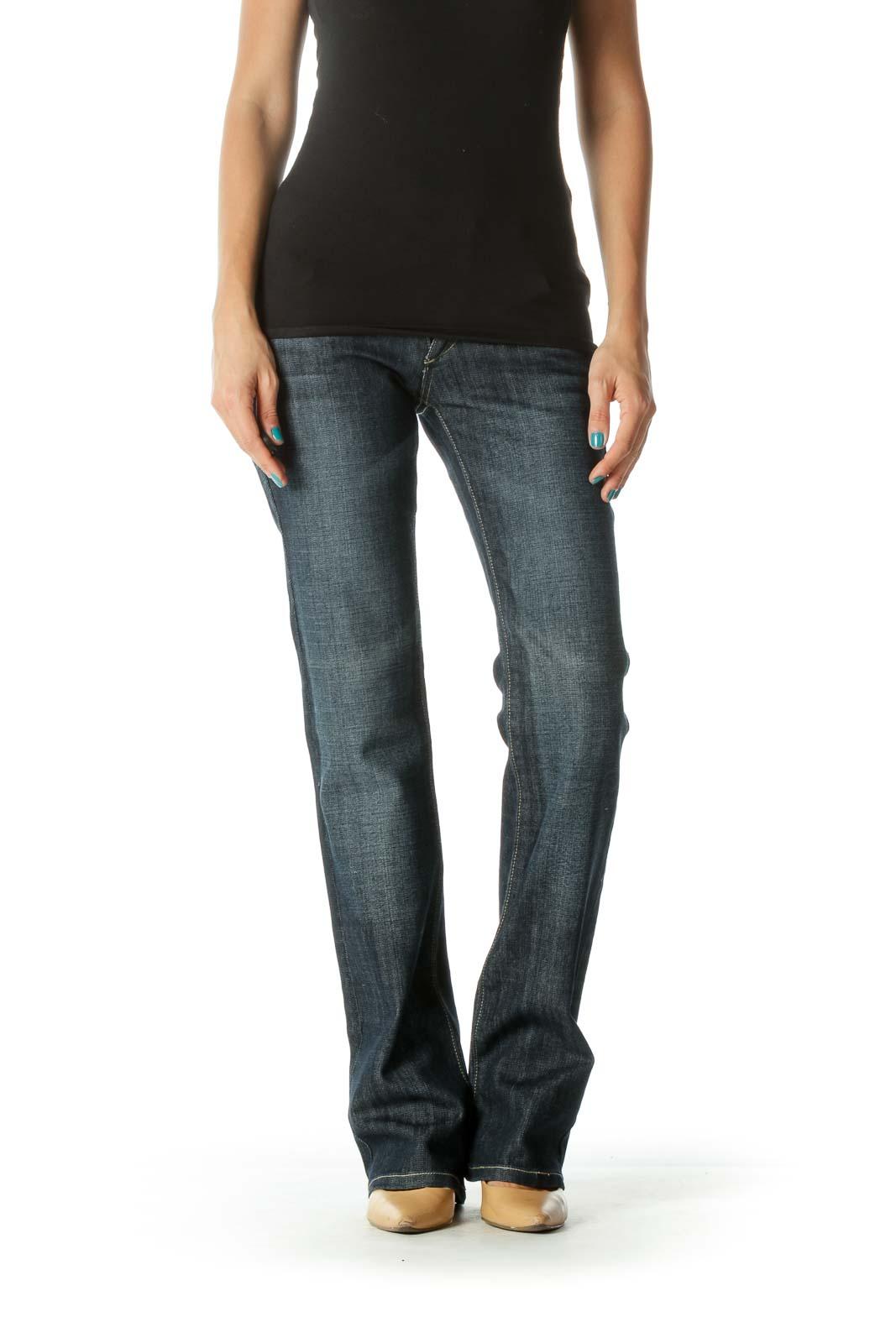 Blue Mid Rise Dark Wash Stone Wash Flared Denim Jeans