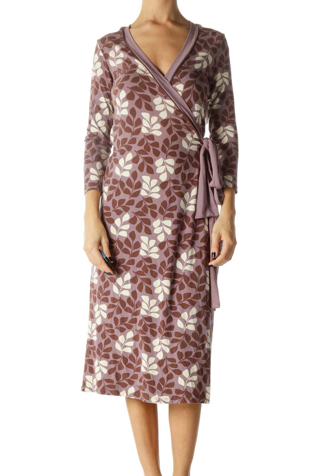 Purple, Beige and Brown Floral Print Knee Length Wrap Dress
