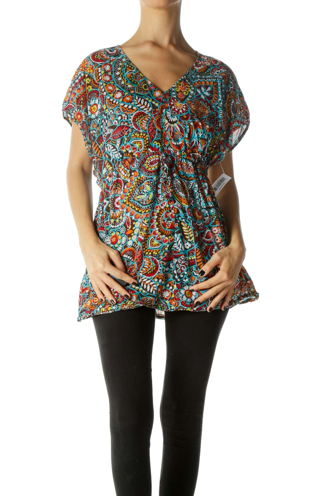 Multicolor Drawstring Kimono Sleeves Blouse