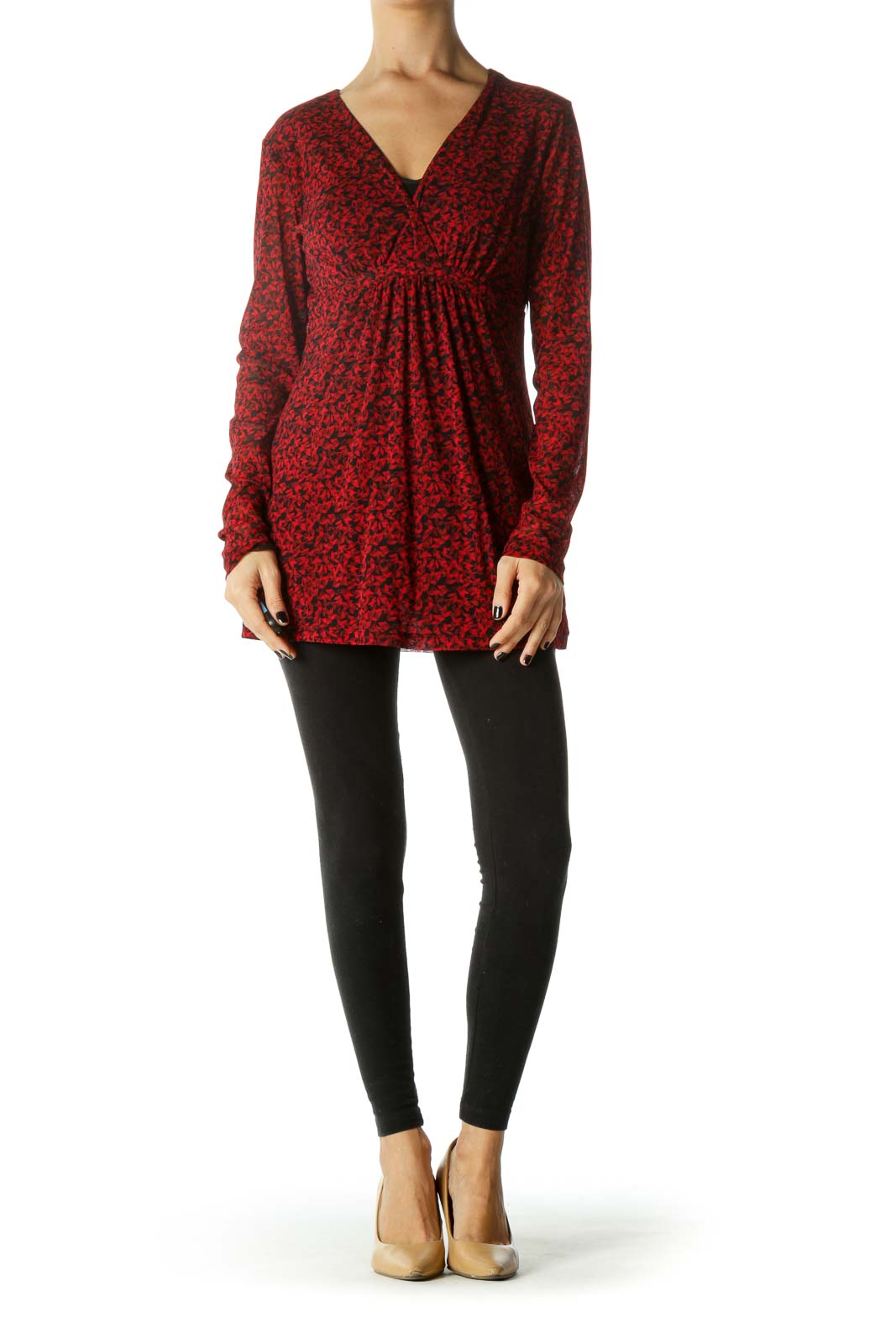 Red and Black Deep V-Neck Floral Long Sleeve Tunic