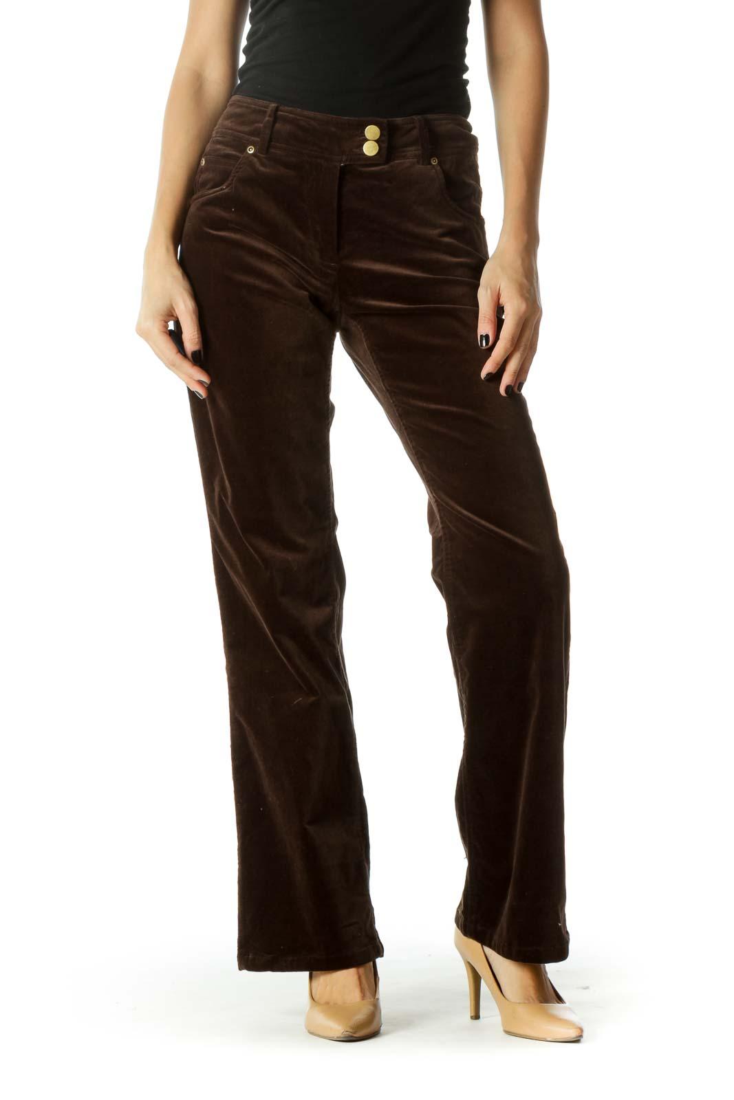 Brown Velvet Gold Hardware Straight Leg Pants