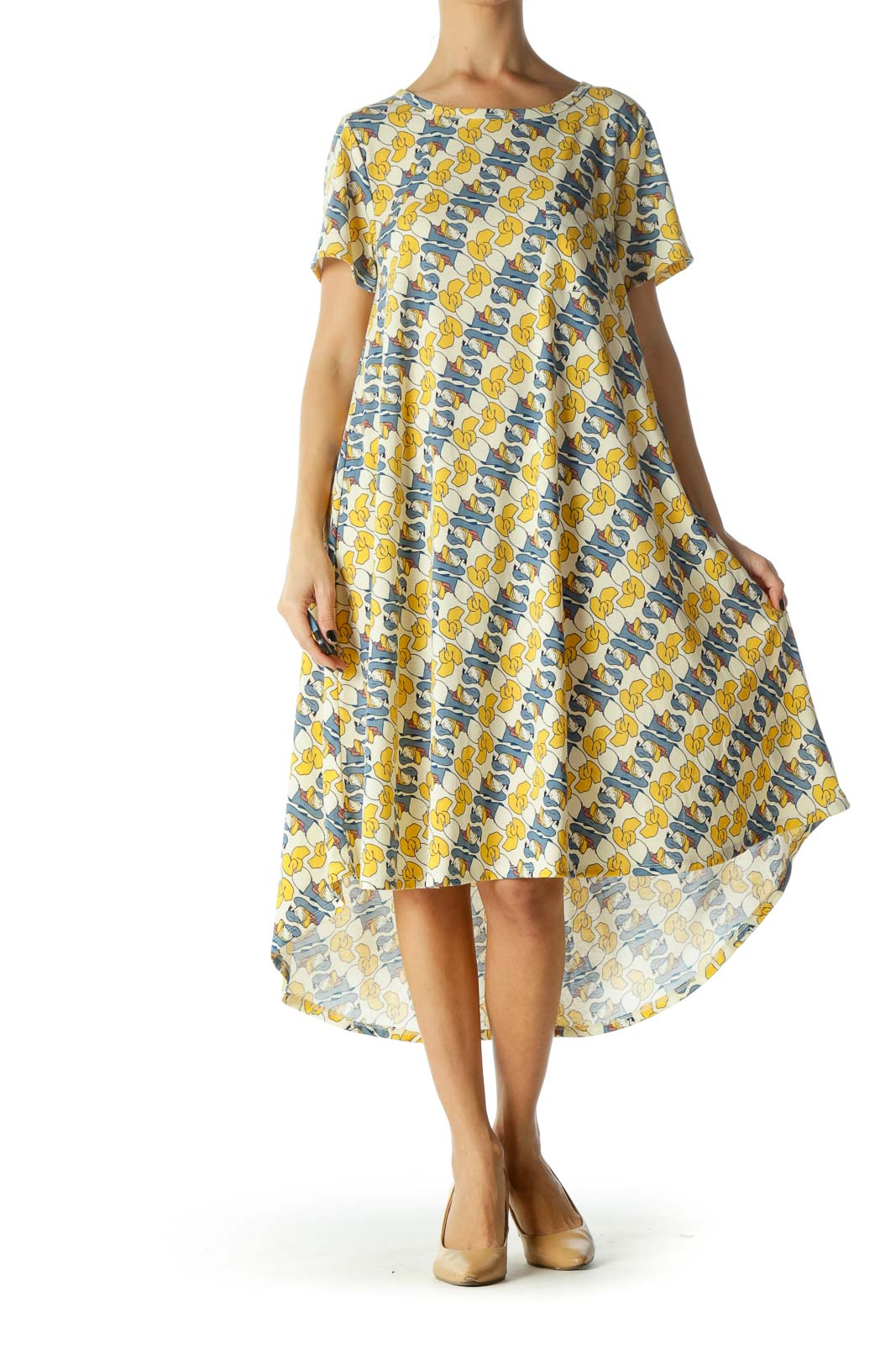 Yellow and Blue Donald Duck Print Short Sleeve Shirt Dress