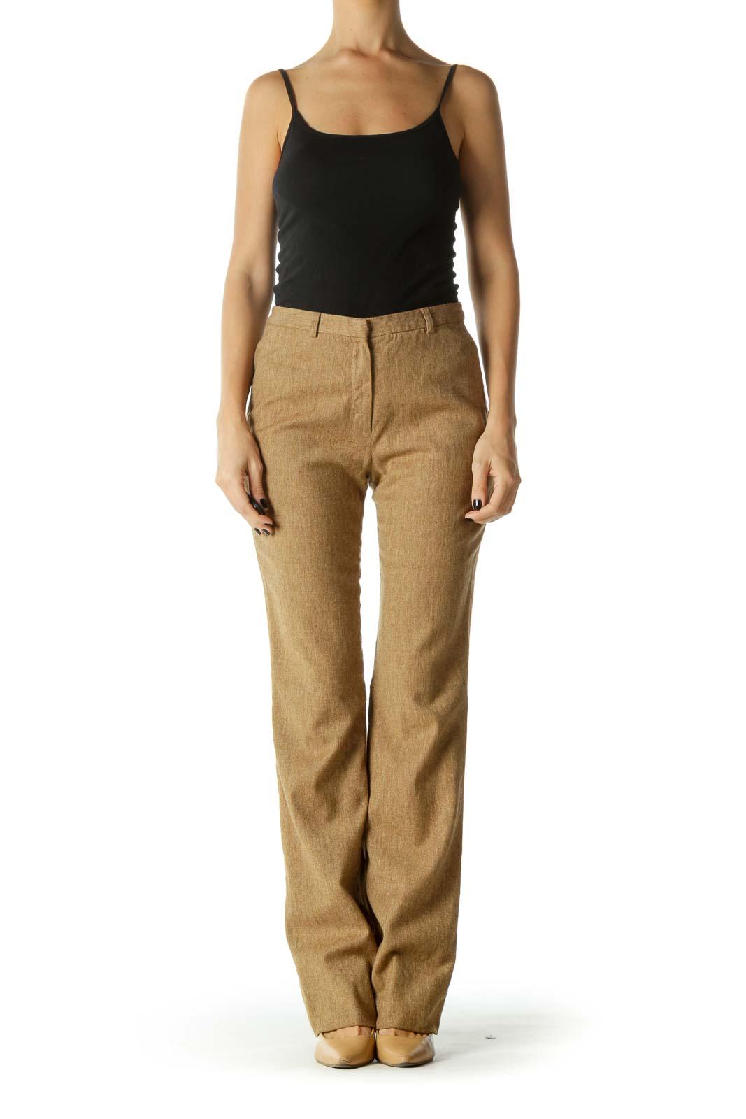 Brown High-Waisted Straight Leg Pants