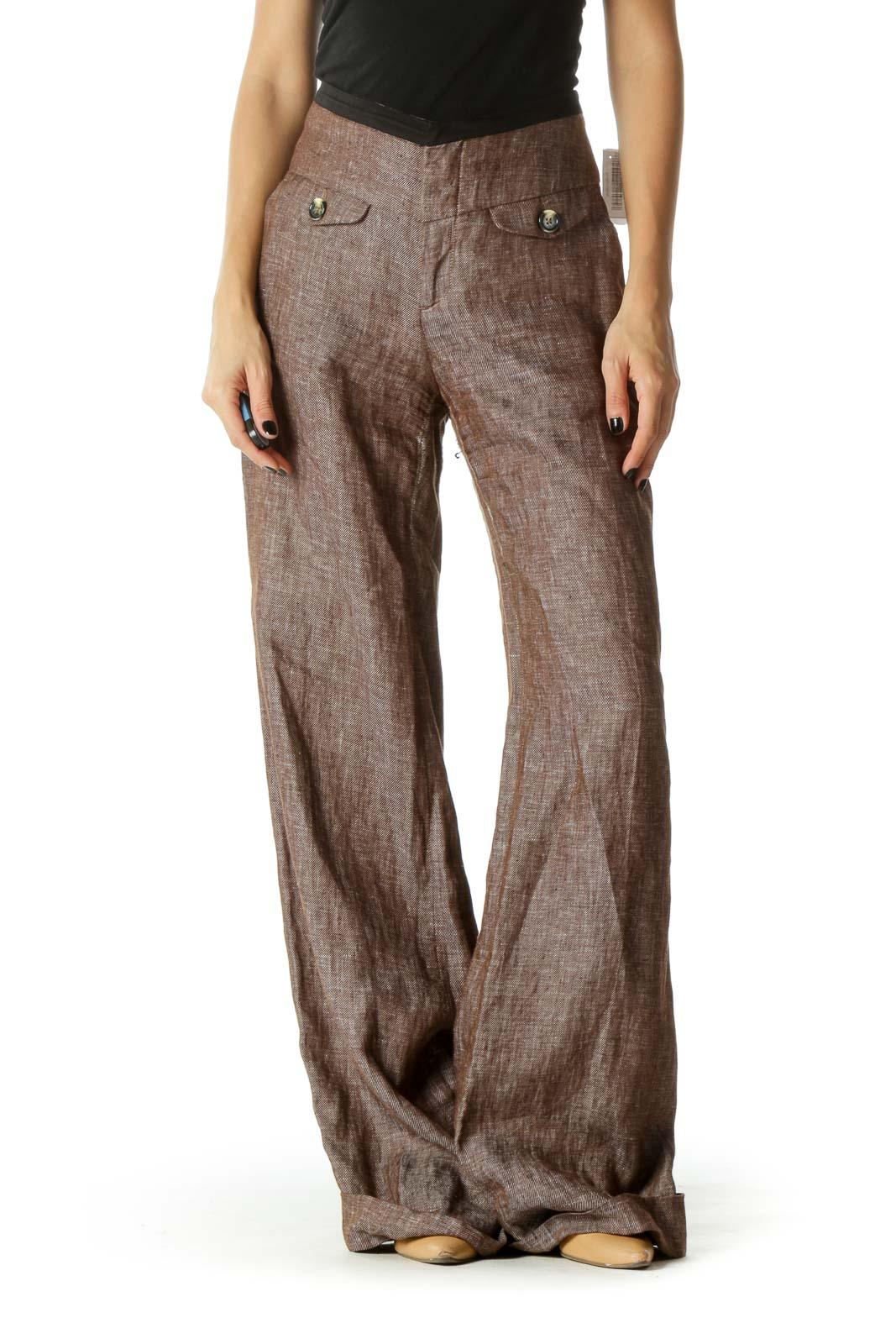 Brown High Waited Cuffed Wide Leg Pants