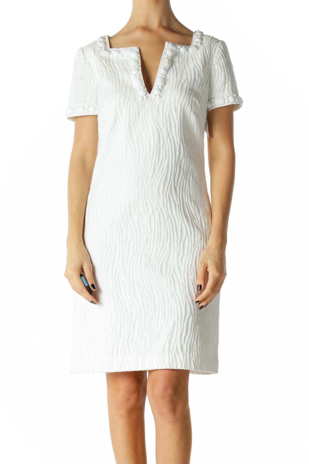 White Beaded Deep V-Neck Day Dress
