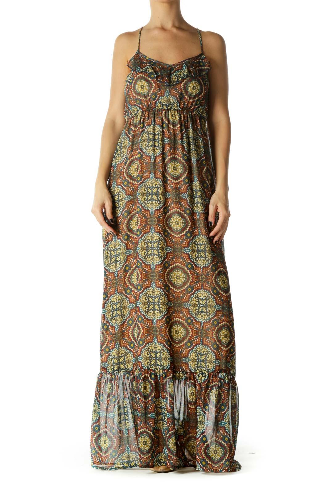 Multicolor Print Ruffled Maxi Dress