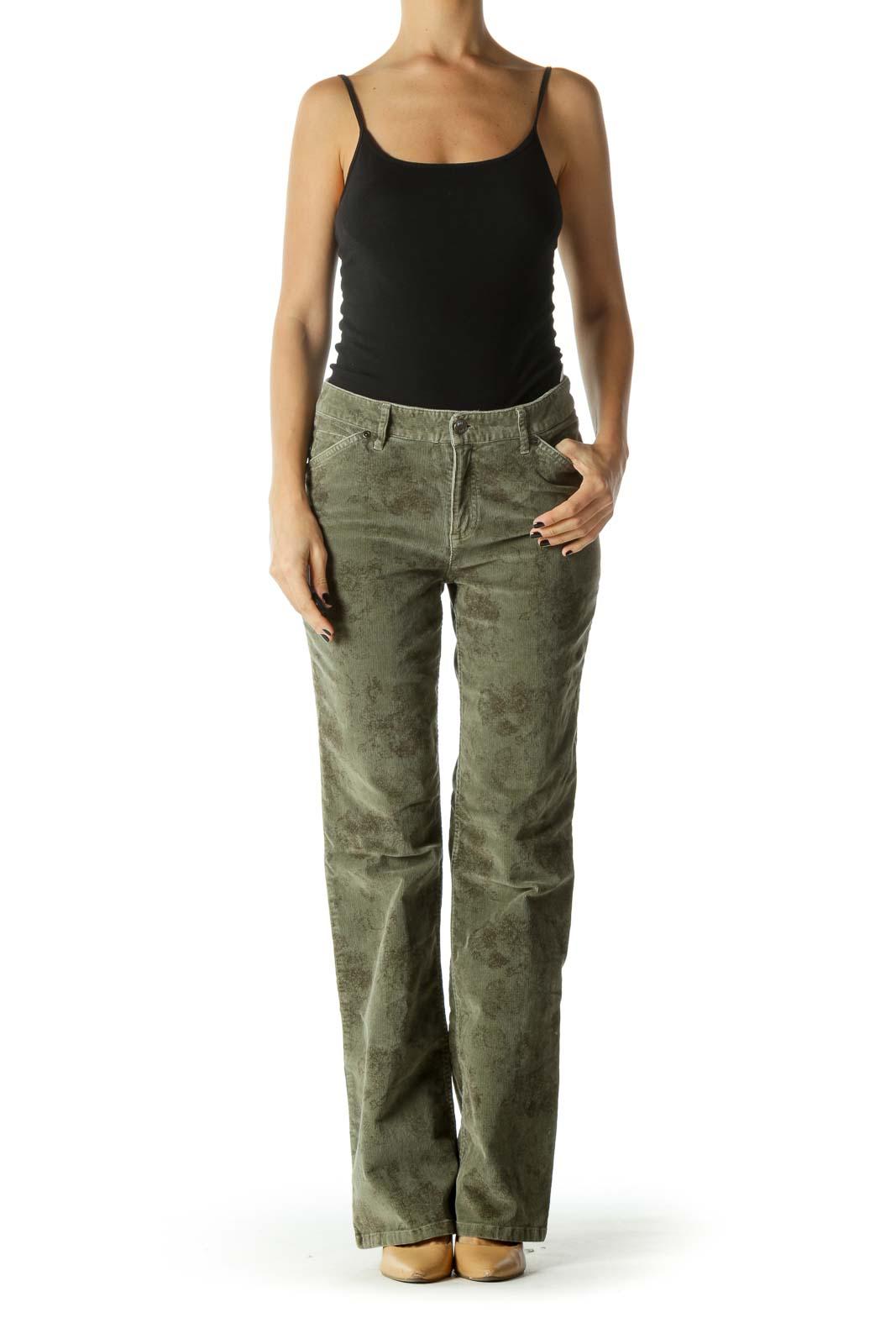 Green Corduroy Mid Rise Floral Print Wide Leg Pants