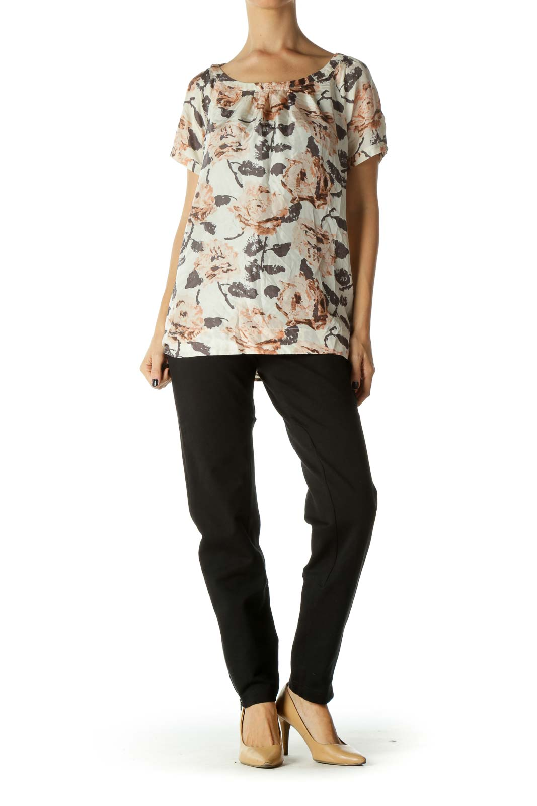 Beige, Brown and Pink Floral Print Round Neck Pleated Blouse