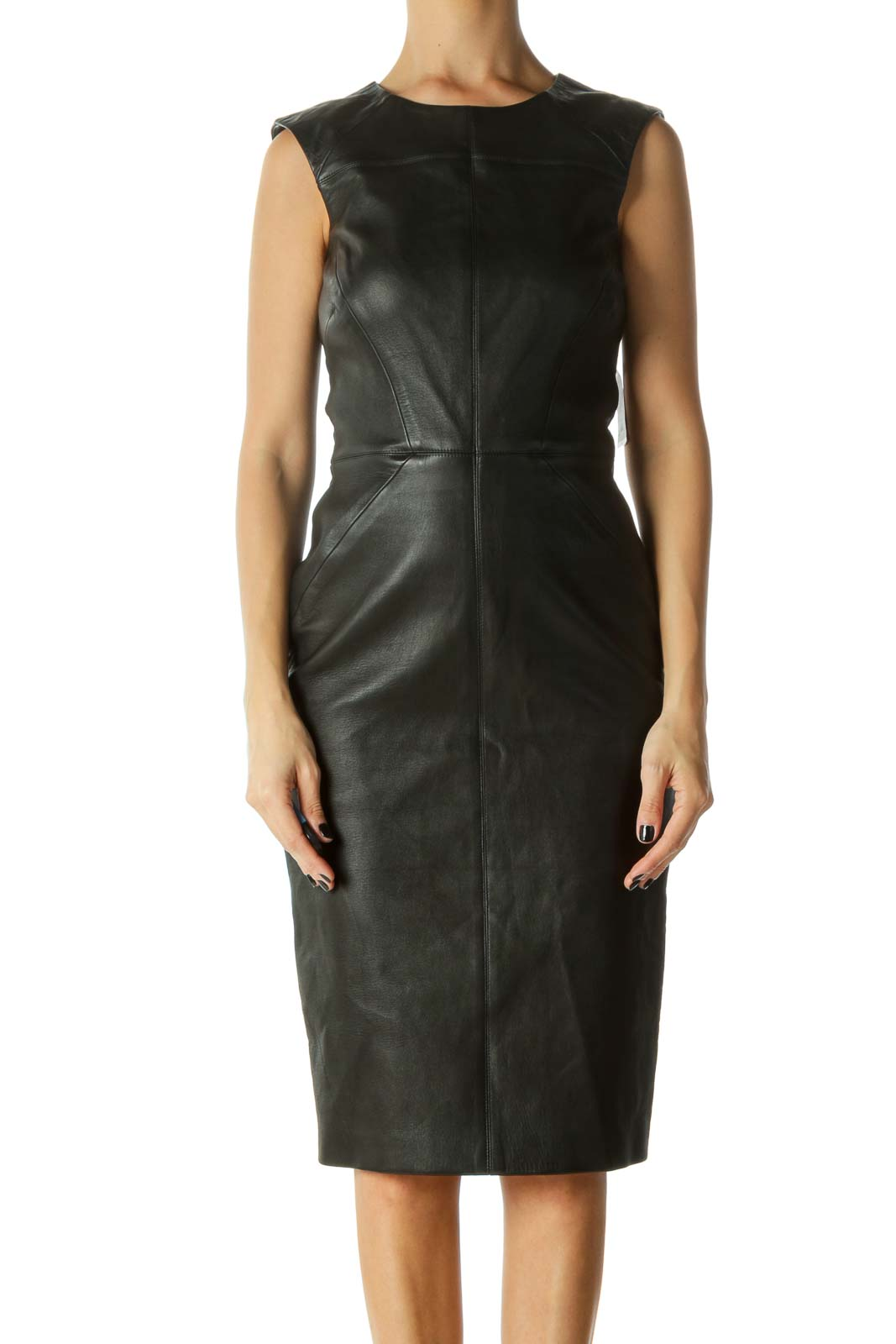 Black Leather Zippered Short Sleeve Work Dress
