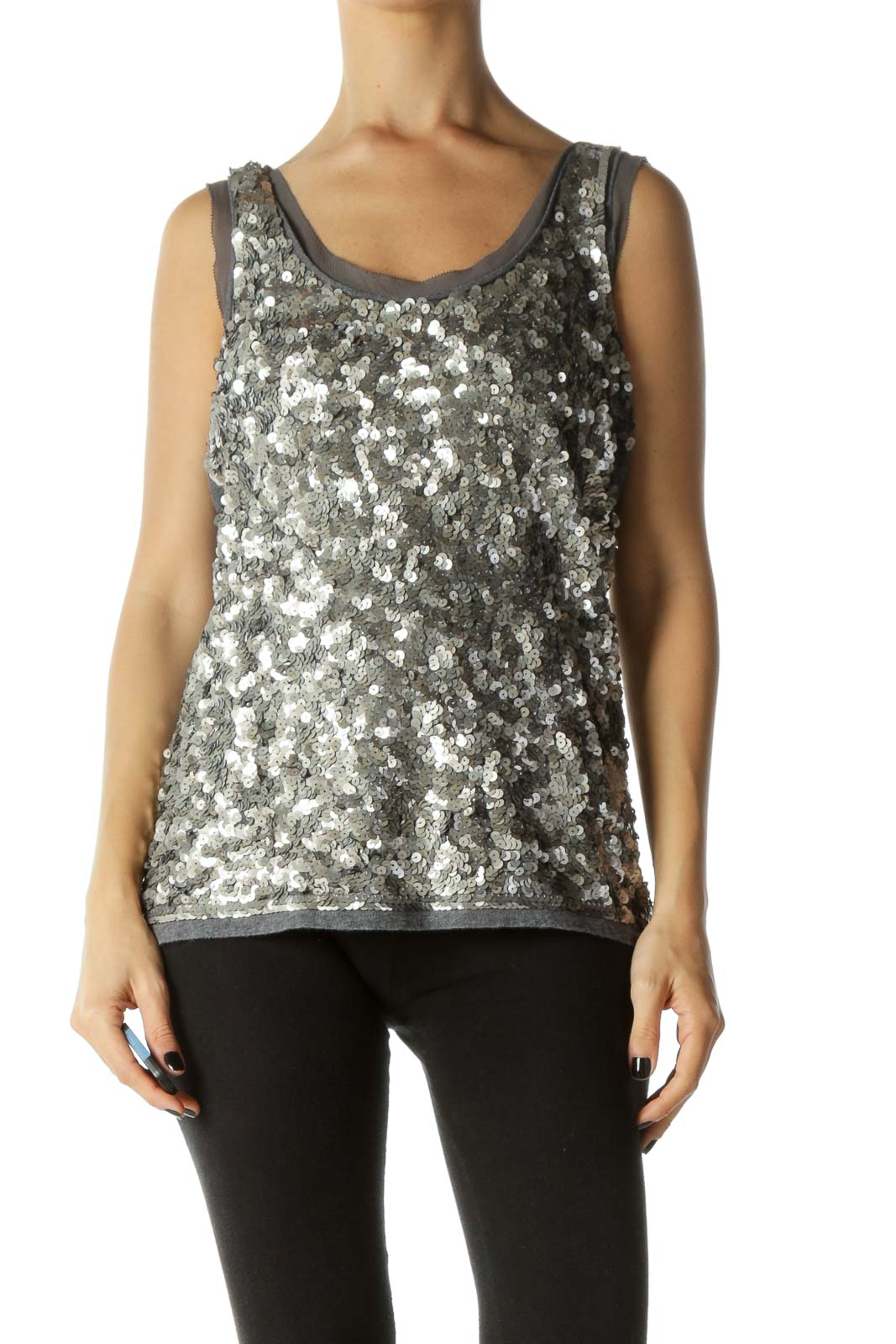 Grey Sequined Round Neck Tank Knit Top