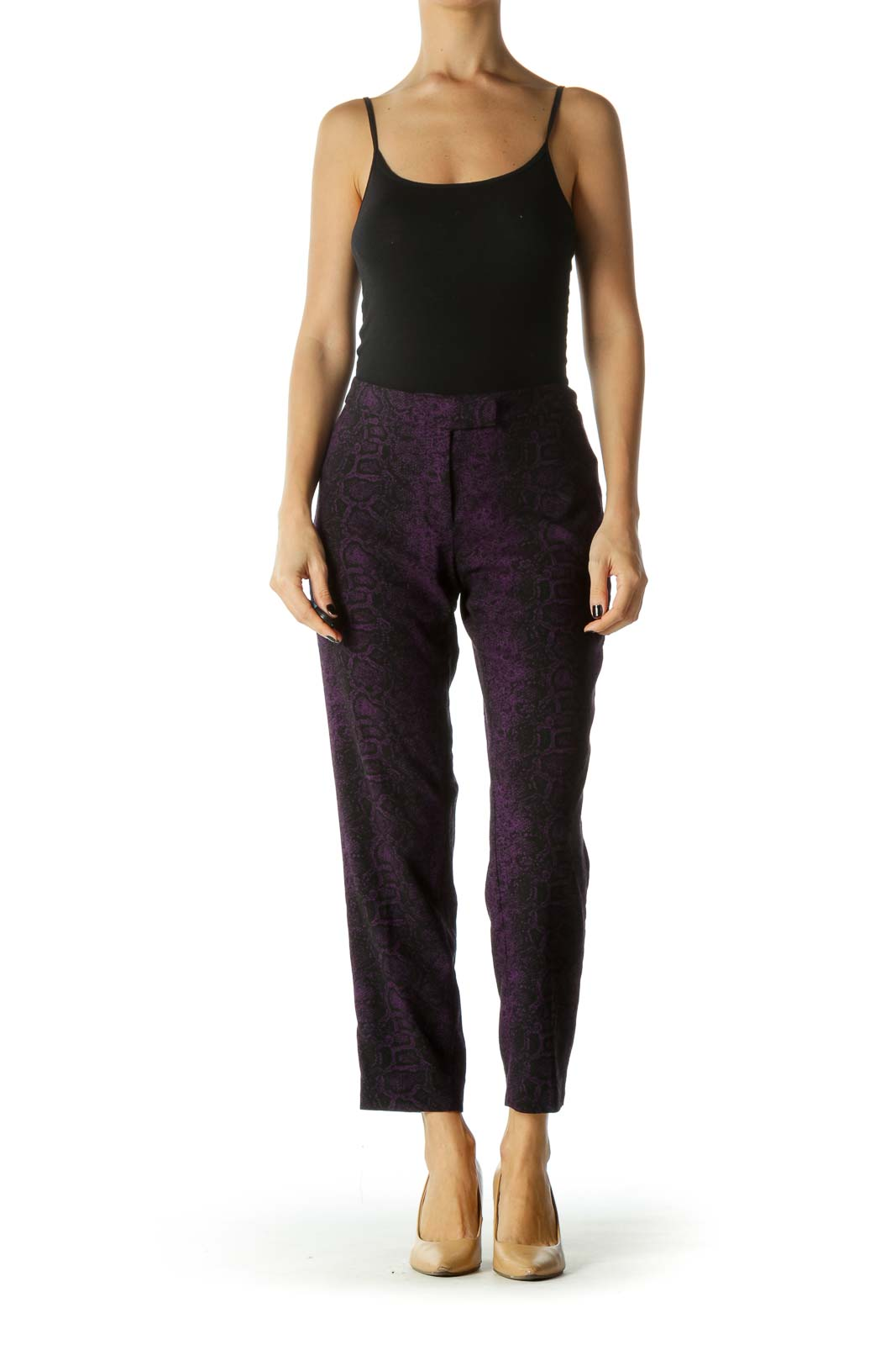 Purple and Black Snake Print Mid Rise Cropped Pants