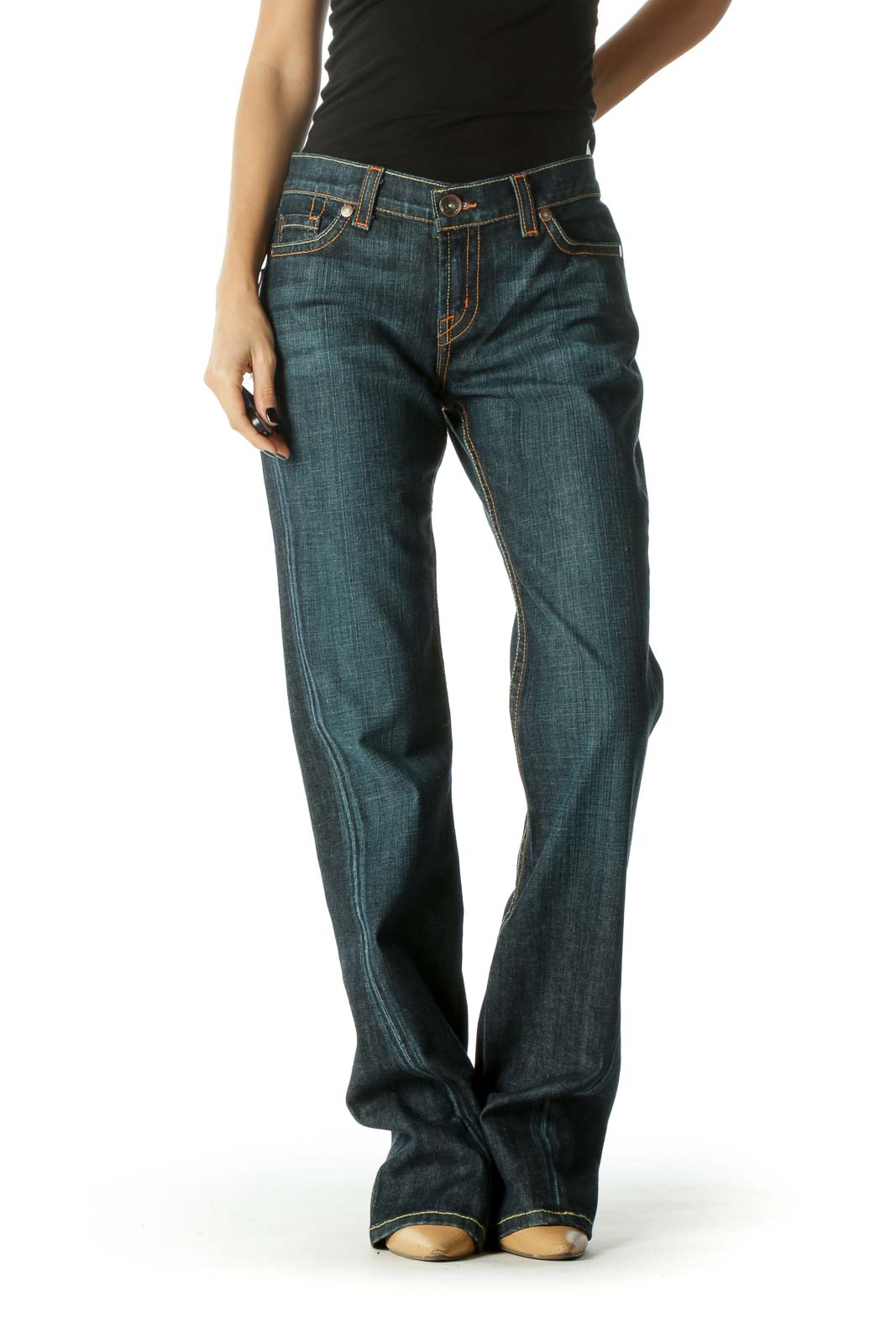 Blue Dark Wash Tinted Mid Rise Flared Jeans