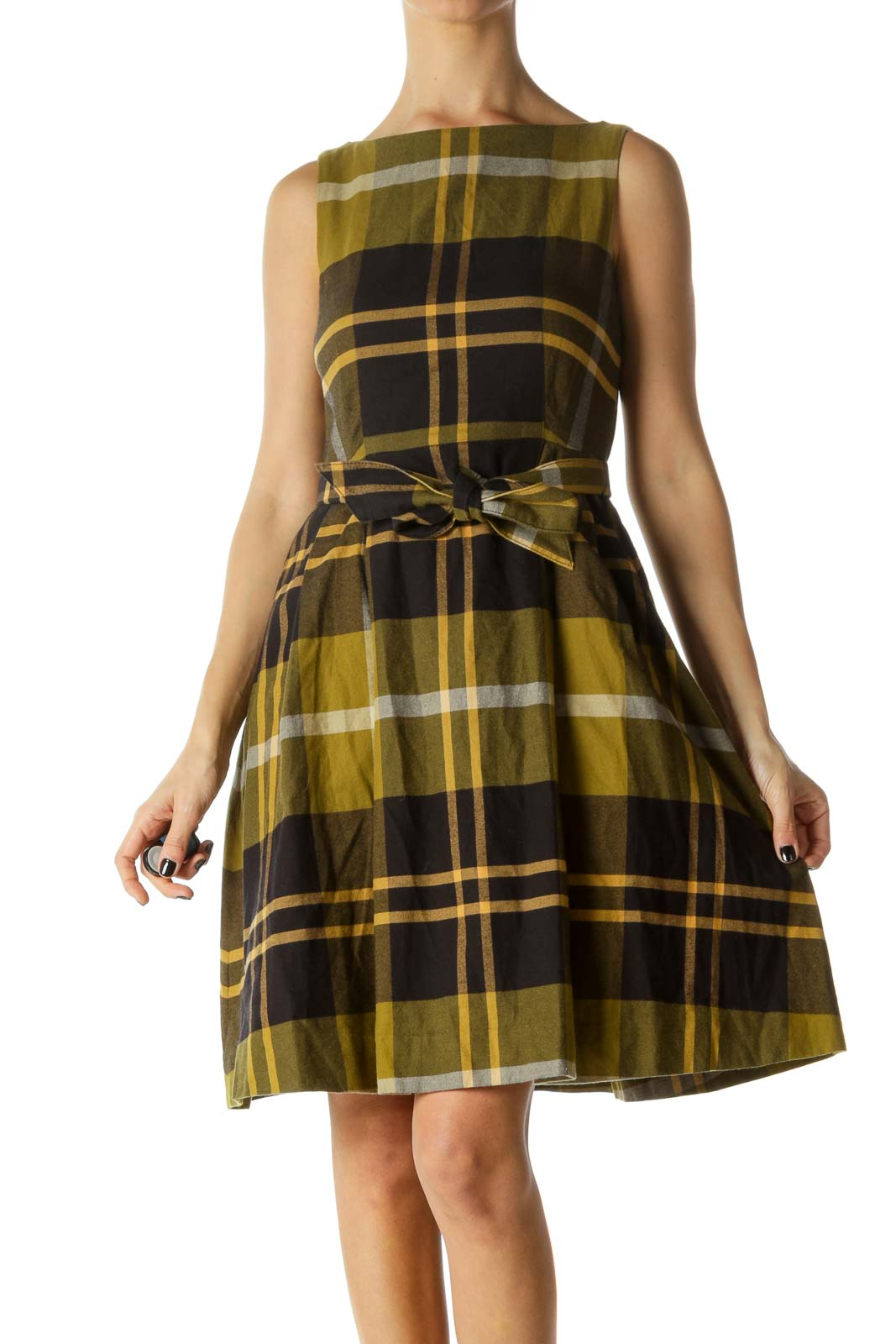 Black, Green and Beige Plaid Pocked Belted Knit Dress
