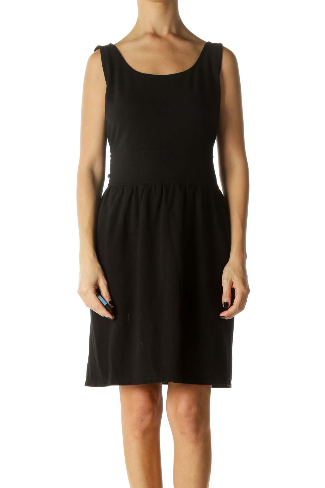Black Sleeveless Zippered Round Neck Knit Dress