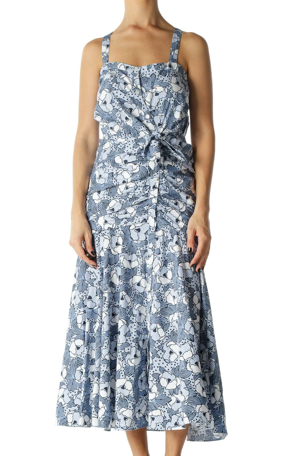 Blue and White Floral , Polka-Dot, and Stiped Print Spaghetti Strap Maxi Dress