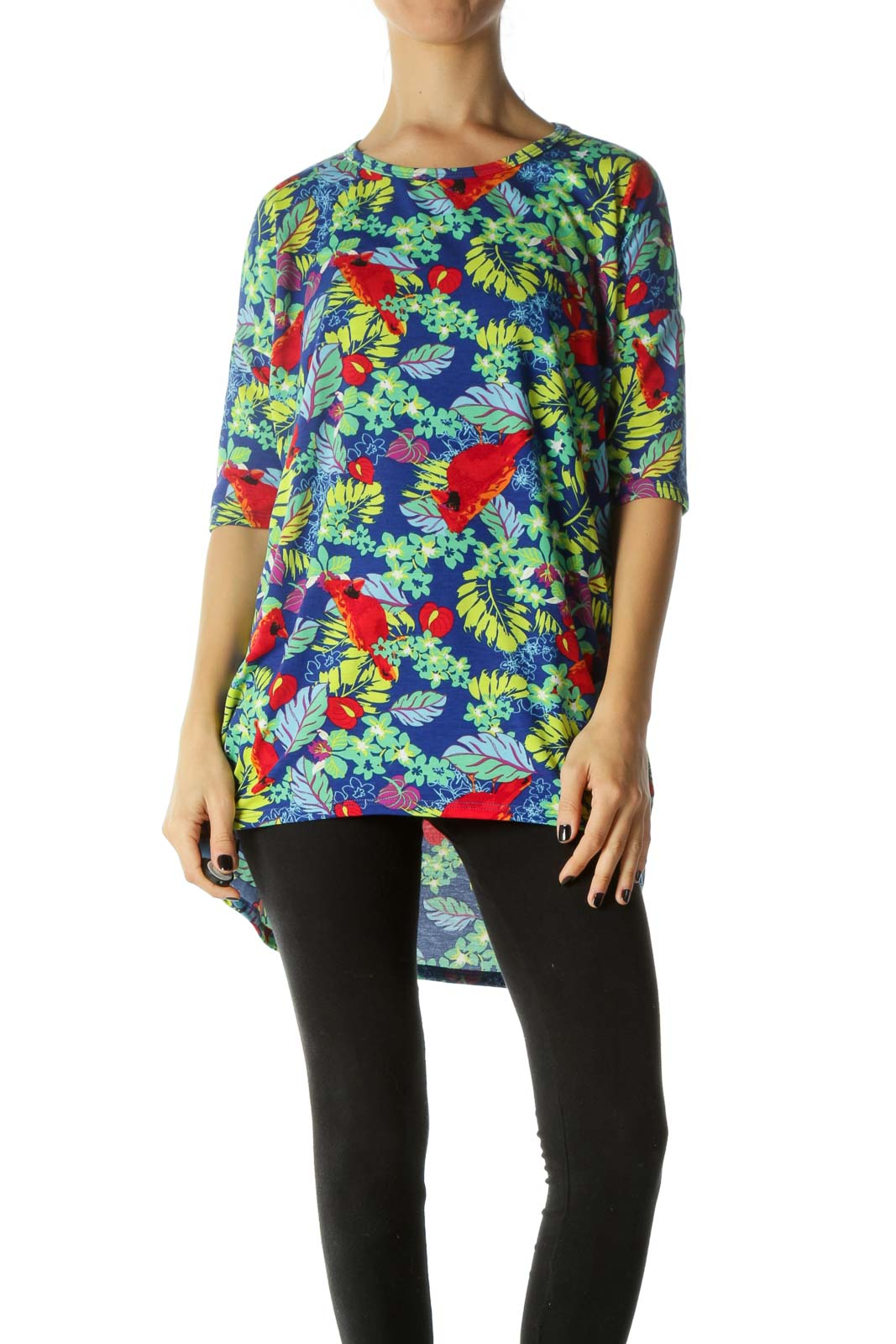 Multicolored Tropical Print High-Low T-Shirt