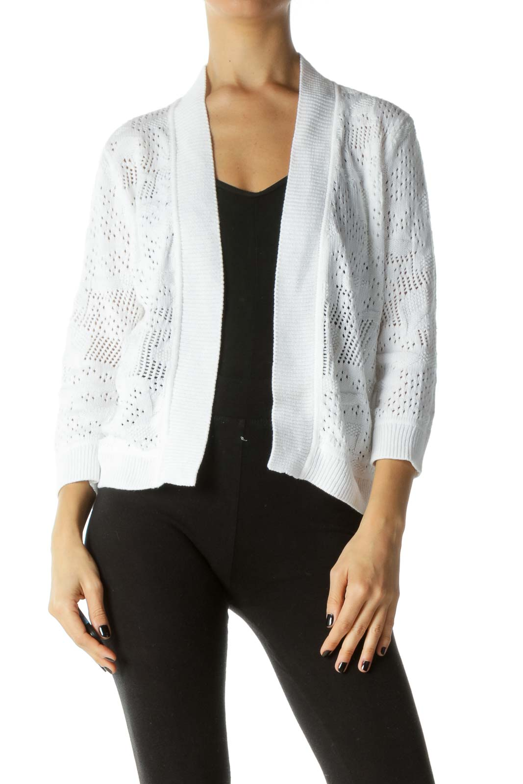 White Knit Long Sleeve Cardigan