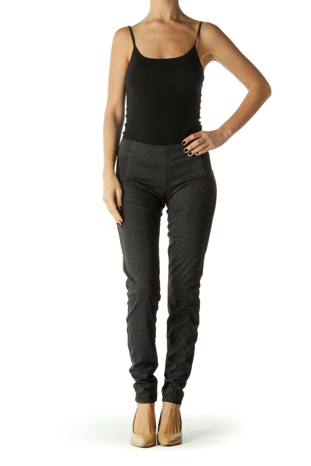 Black Herringbone Print Stretchy Skinny Leg Pant