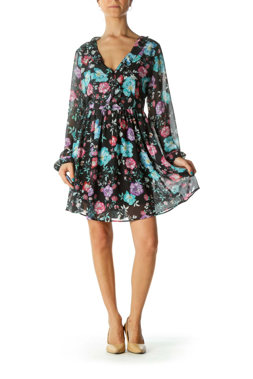 Black Floral Print Long Sleeve Deep V-Neck Day Dress