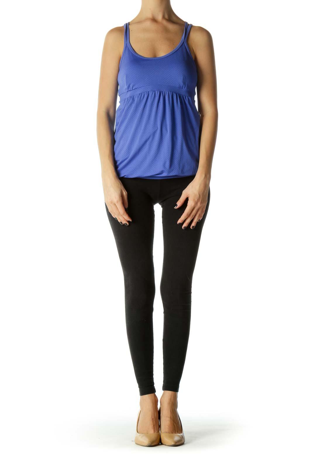Blue Patterned Crisscross Back Yoga Top