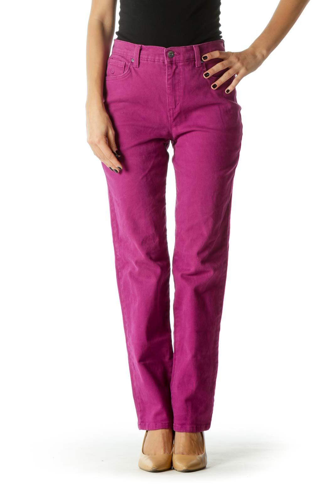 Purple High Waited Straight Leg Denim Jeans