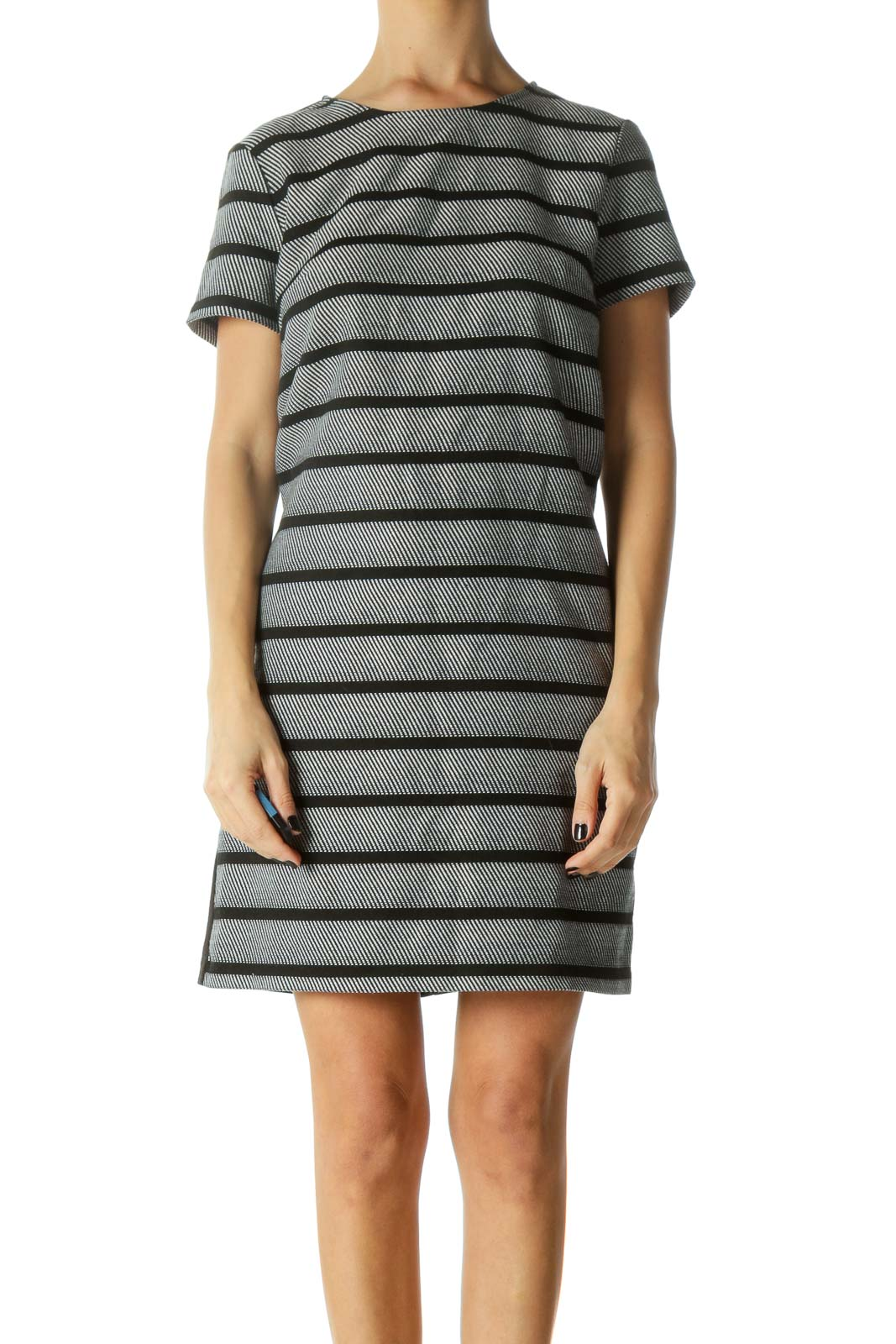 Black and White Striped Short Sleeve Knit Dress
