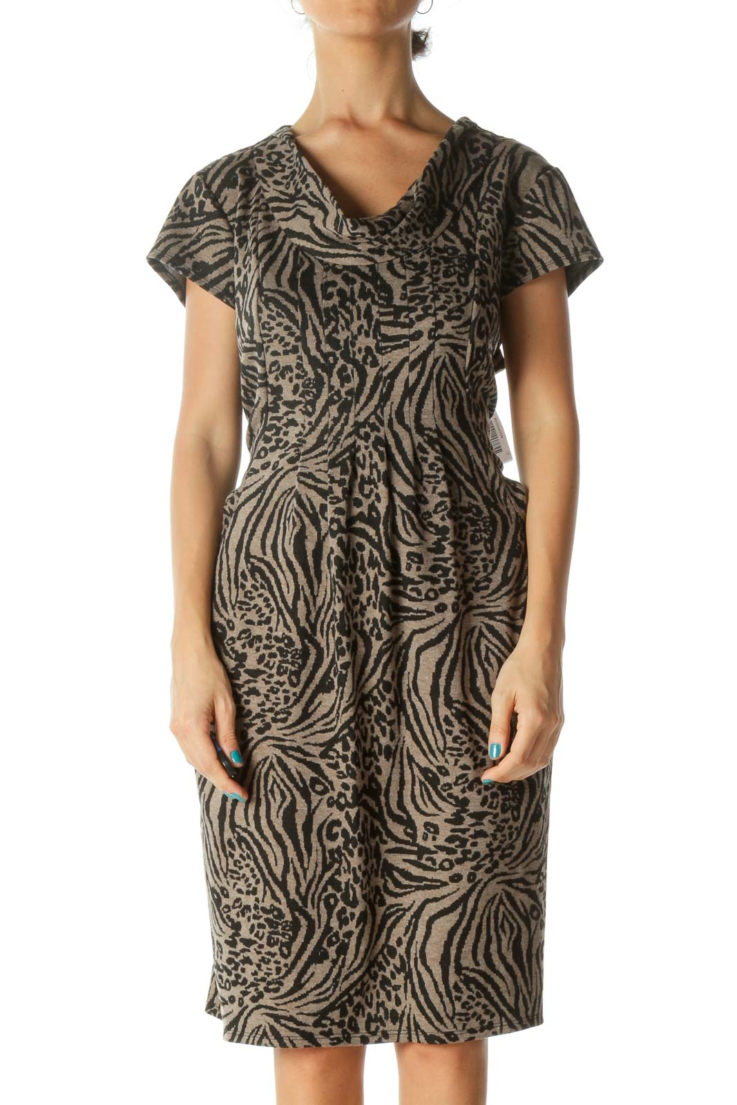 Brown and Black Animal Print Cowl Neck Cap Sleeve Knit Dress