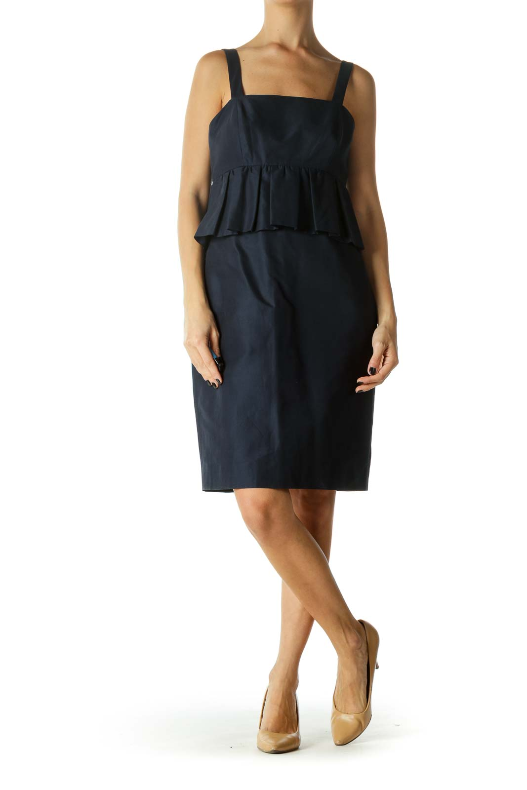 Blue Spaghetti Strap Ruffled Work Dress