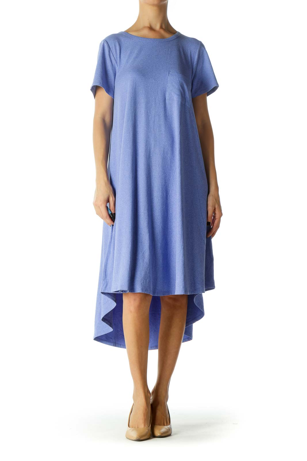Blue Short Sleeve Single Pocket Shirt Dress