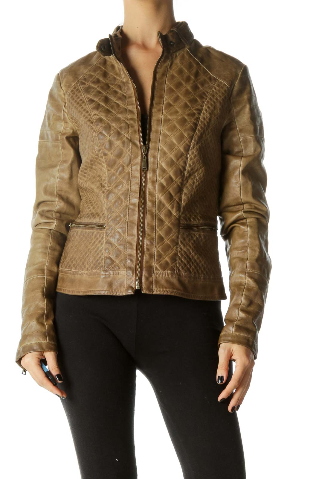 Brown Quilted Zippered Leather Jacket