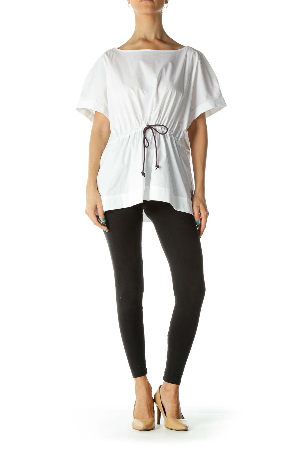 White Cap Sleeve Waist- Tie Round Neck Shirt