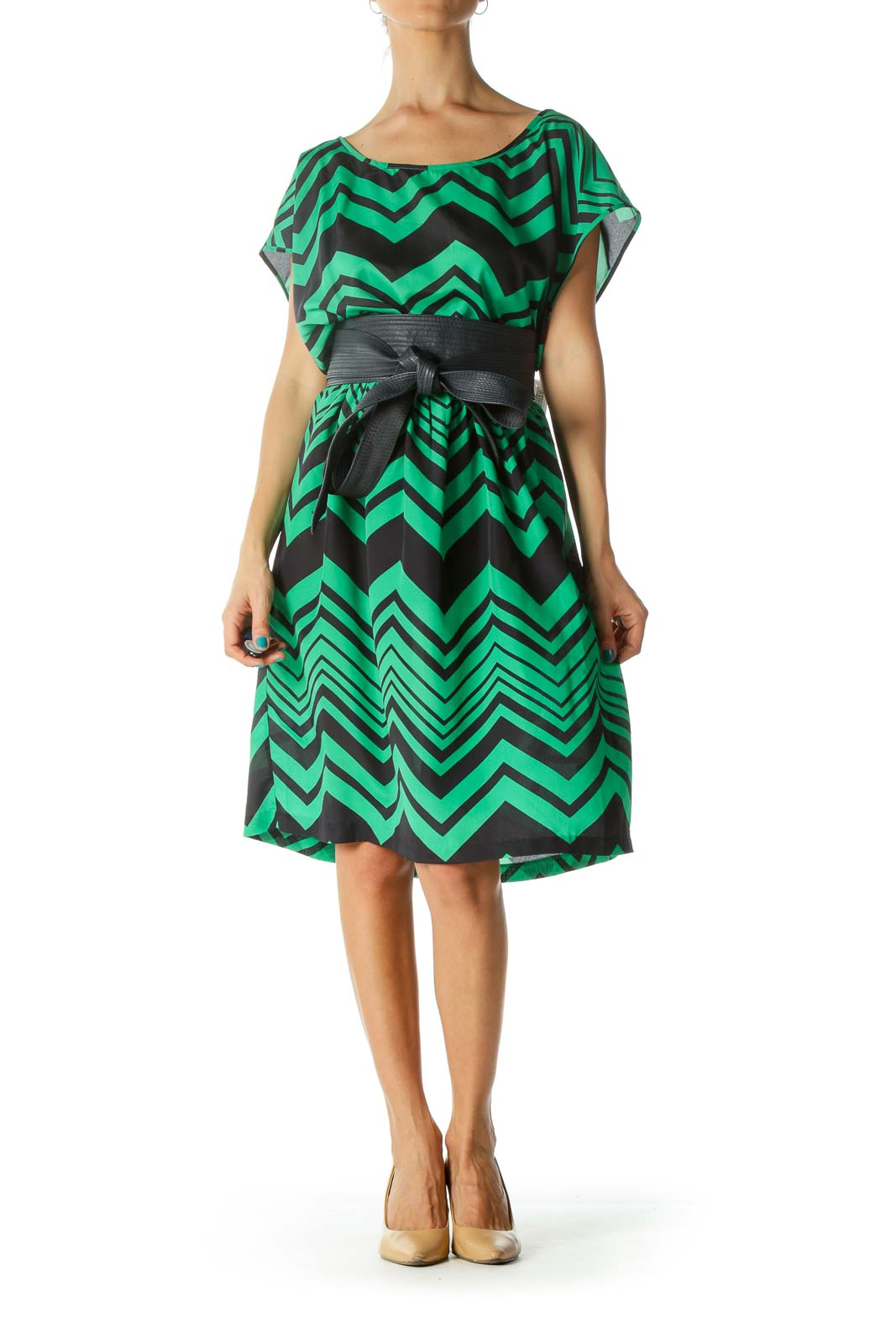 Green and Blue Geometric Print Faux Leather Belted Day Dress