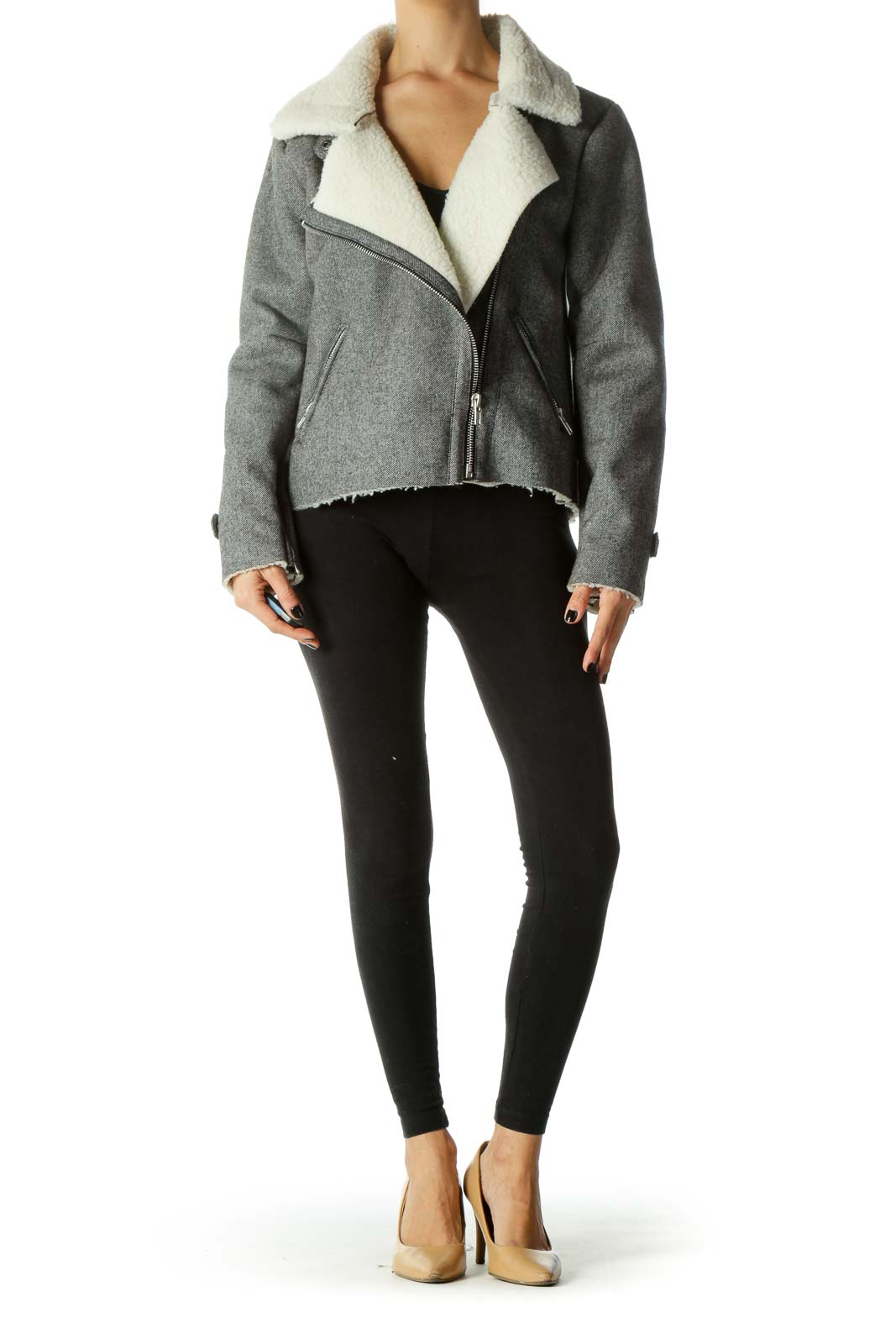 Gray & White Shearling Textured Zippered Jacket