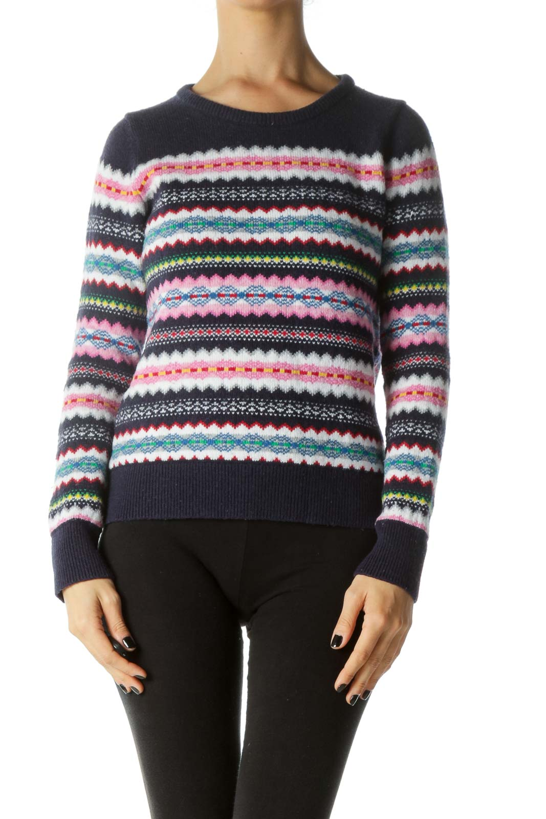 Blue and Multicolored Long Sleeve Round Neck Sweater