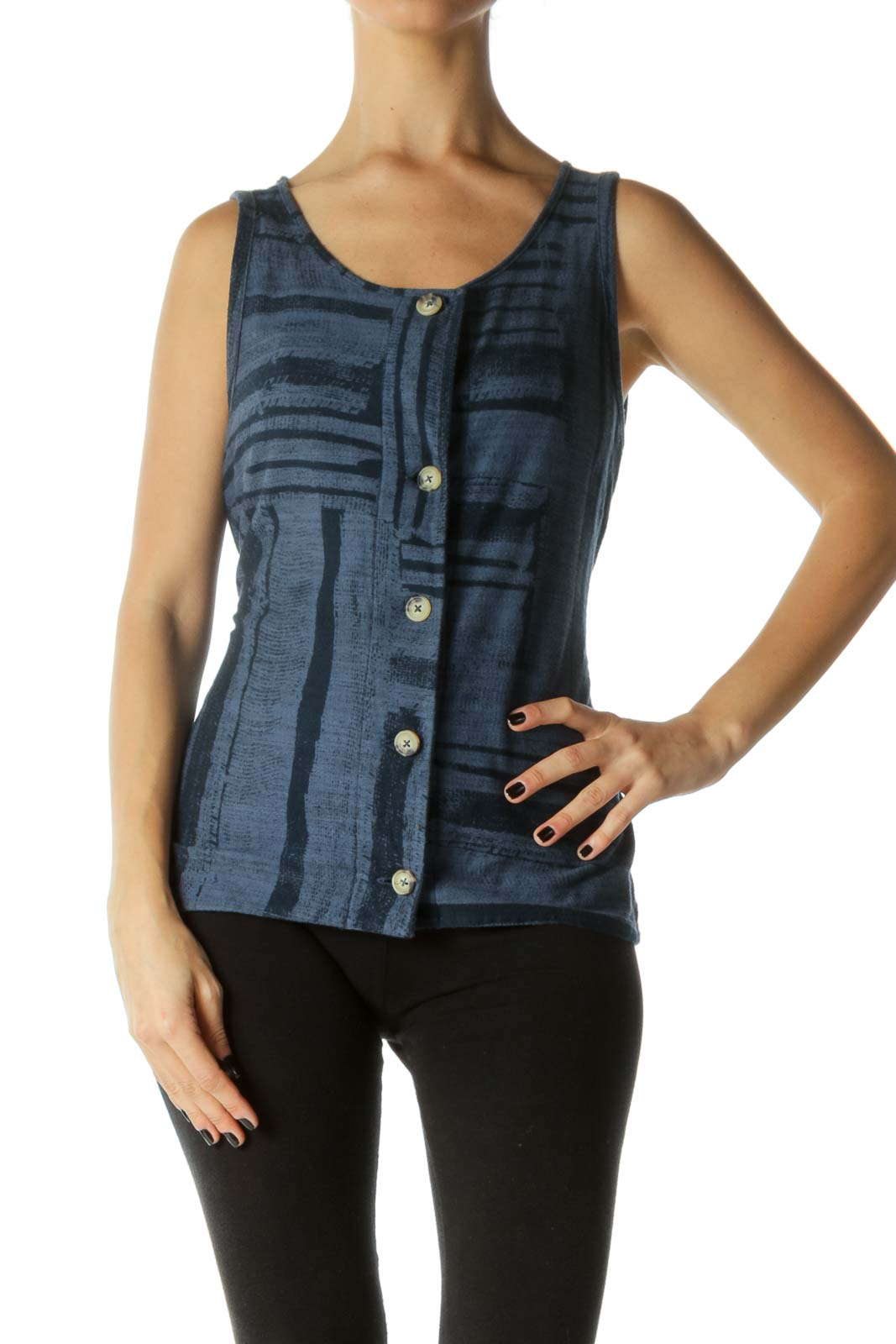 Navy Button-Down Waist Tie Sleeveless Top