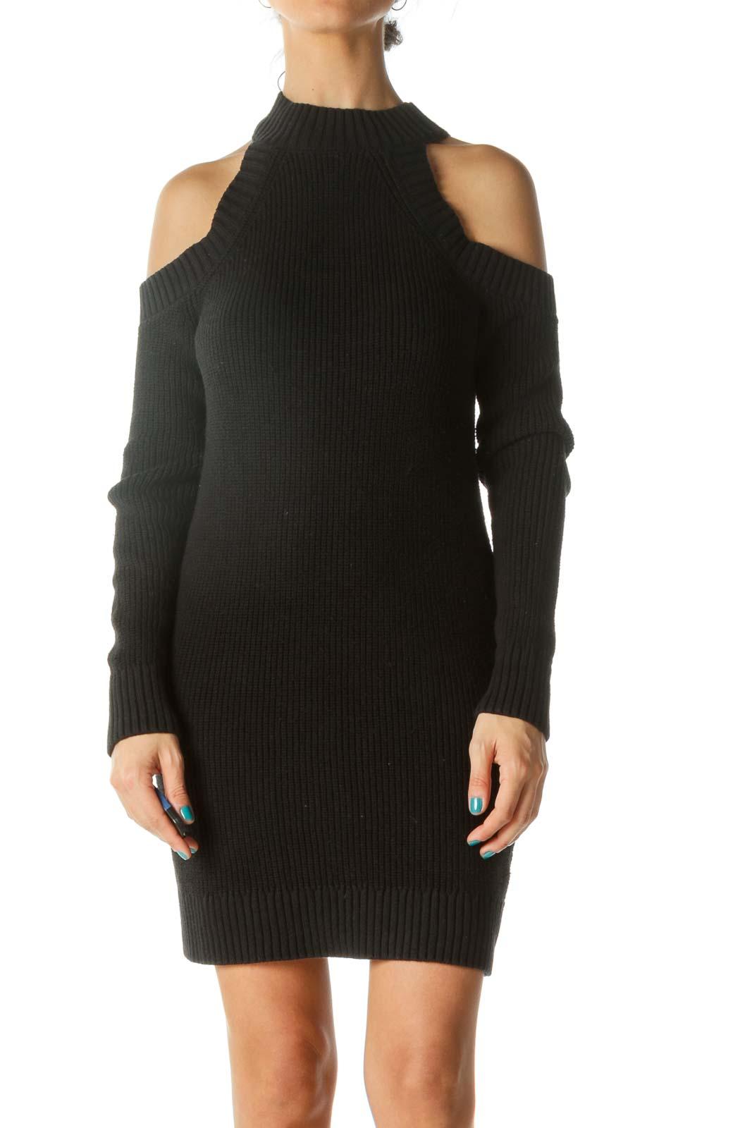 Black Cut-Out Shoulder Knit Bodycon Dress