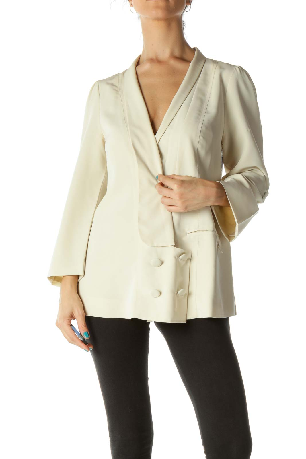 Cream Buttoned Suit Top