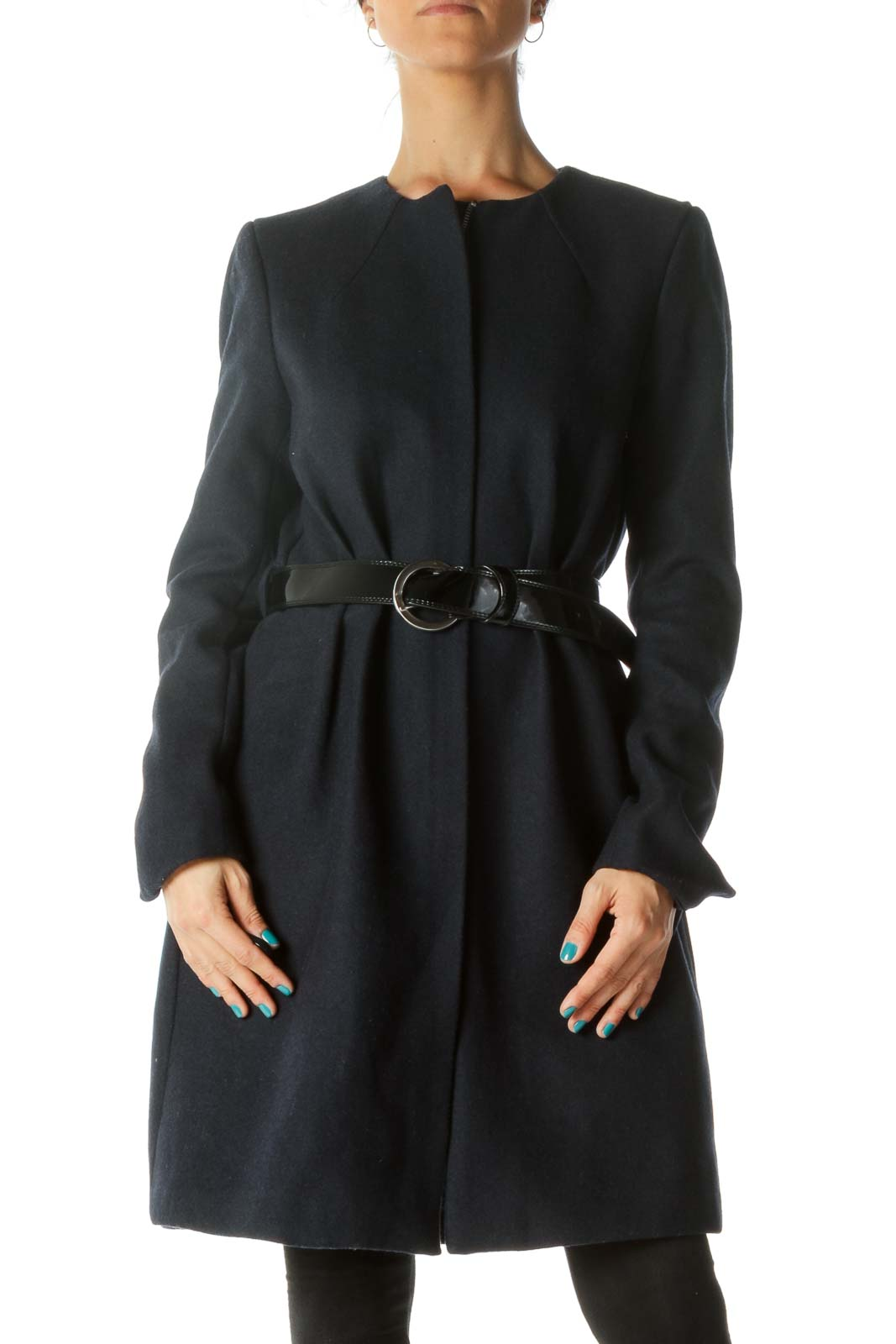 Navy Padded Coat with Belt