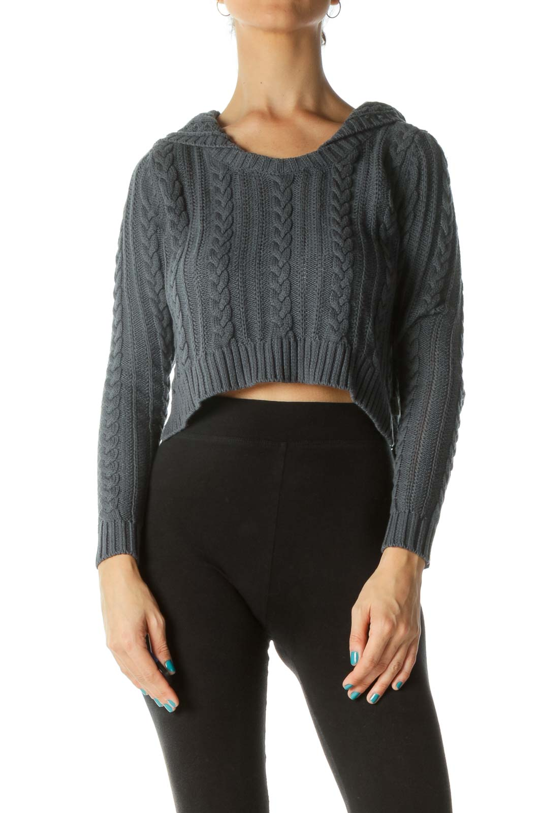 Navy Cropped Cable Knit Sweater