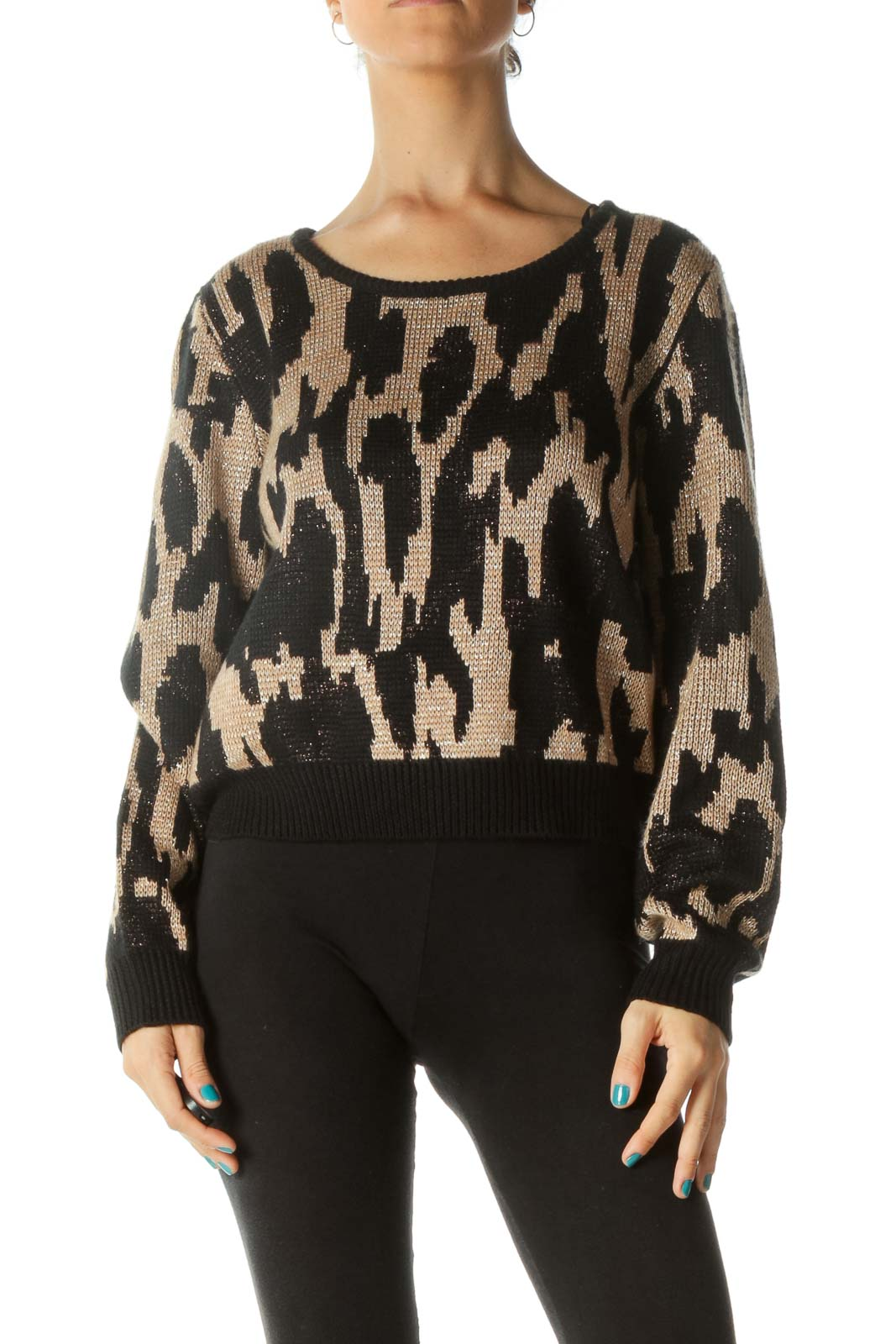 Black and Brown Print Knit Sweater
