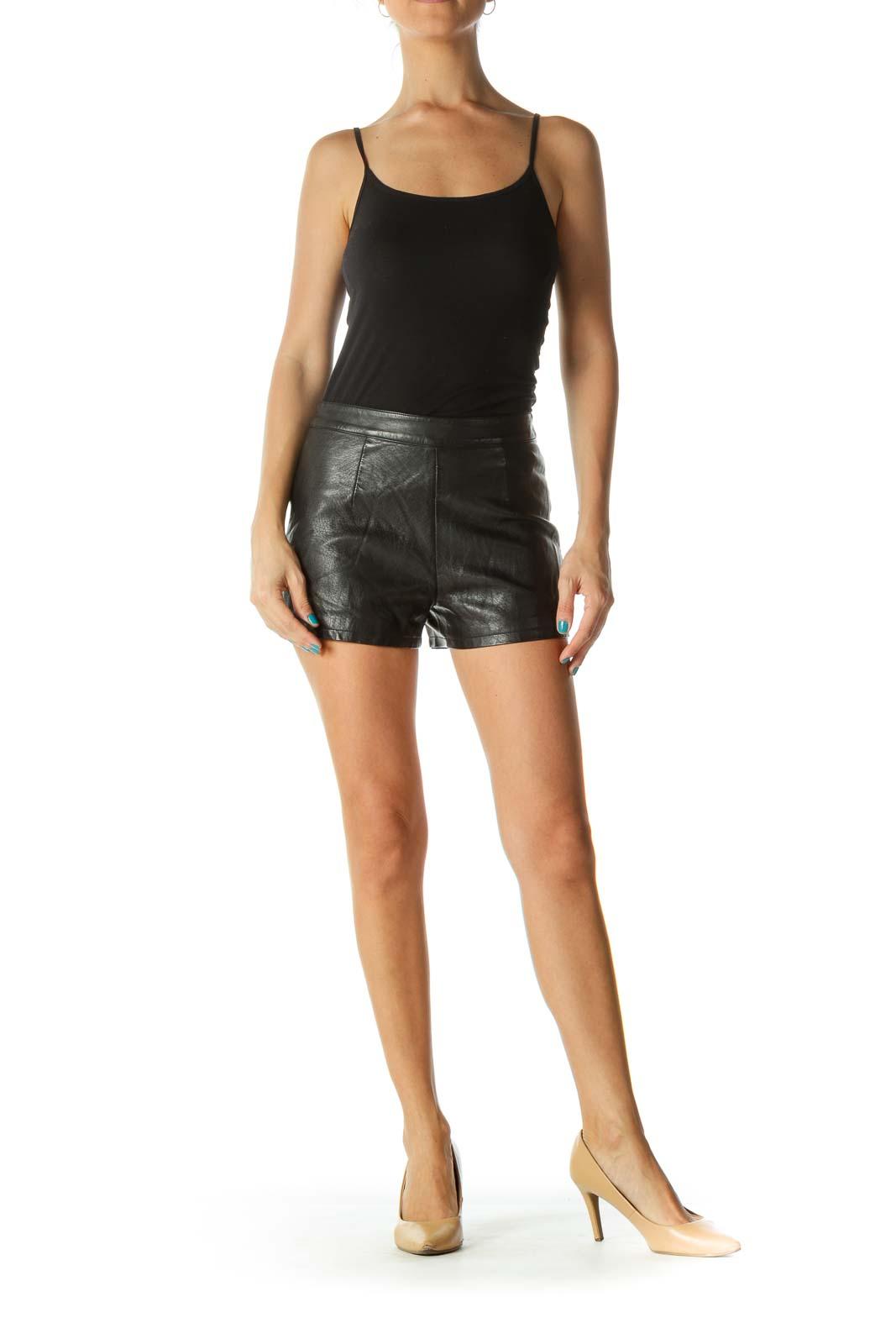 Black Leather High Waisted Shorts