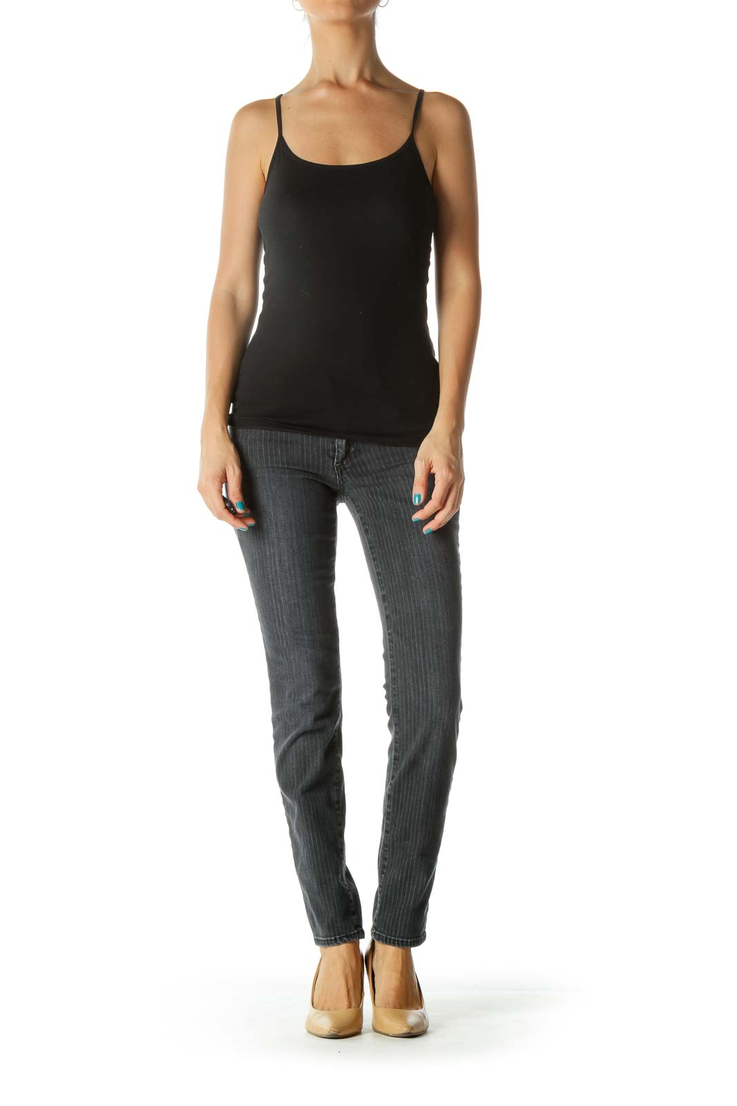 Gray Pinstripe Pocketed Skinny Jeans