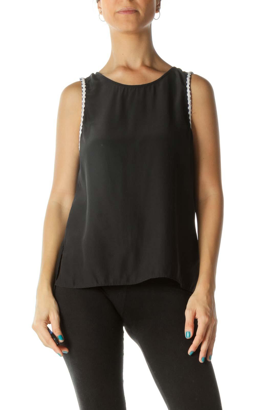 Black Open-Back Sleeveless Blouse